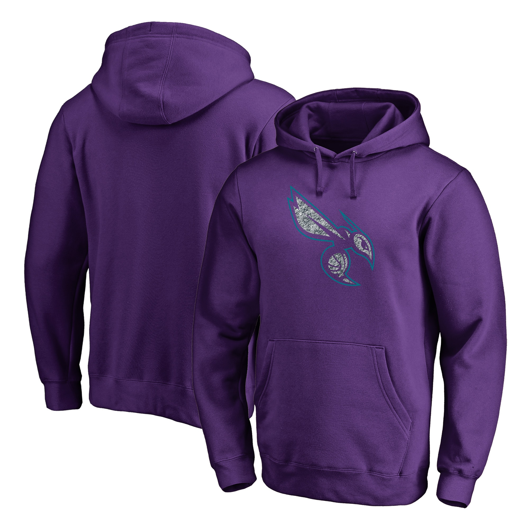 Charlotte Hornets Fanatics Branded Static Logo Pullover Hoodie - Purple