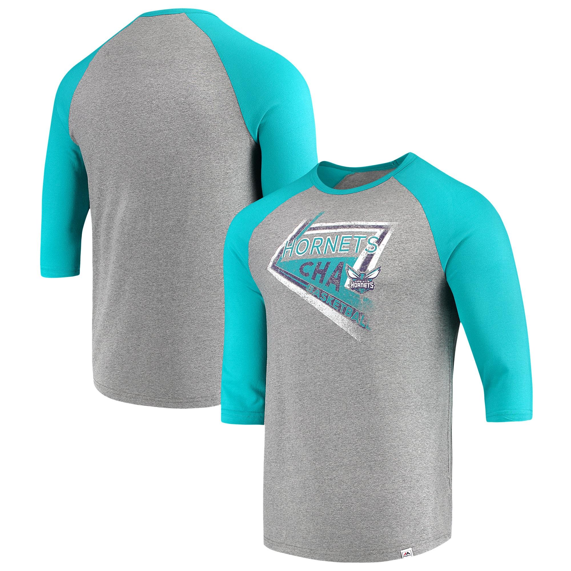 Charlotte Hornets Majestic Scoring Position Tri-Blend 3/4-Sleeve Raglan T-Shirt - Heathered Gray/Teal