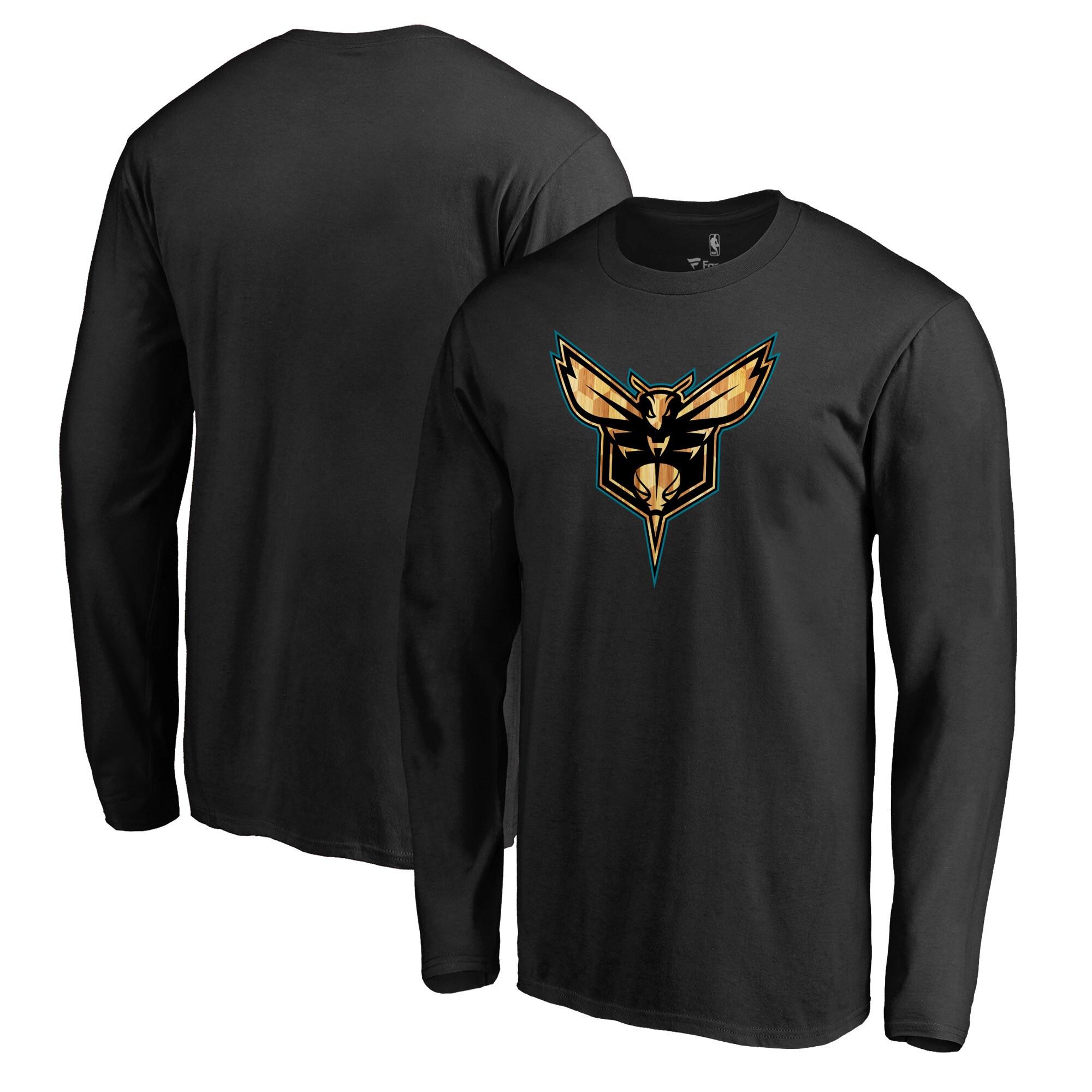 Charlotte Hornets Fanatics Branded Hardwood Big & Tall Long Sleeve T-Shirt - Black