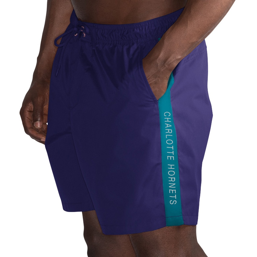 Charlotte Hornets G-III Sports by Carl Banks Volley Swim Trunks - Purple/Teal