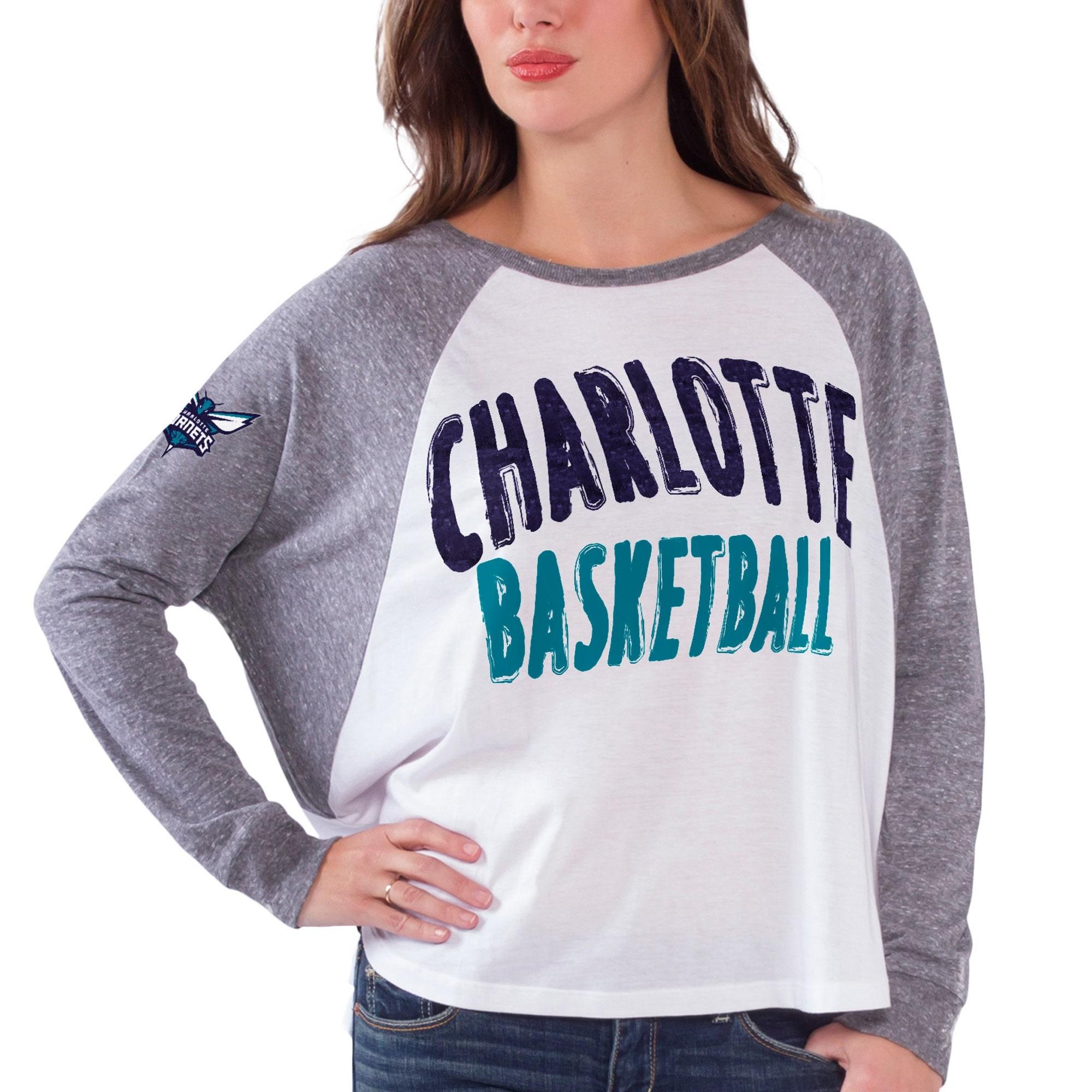 Charlotte Hornets Women's Triple A Long Sleeve T-Shirt - White/Gray