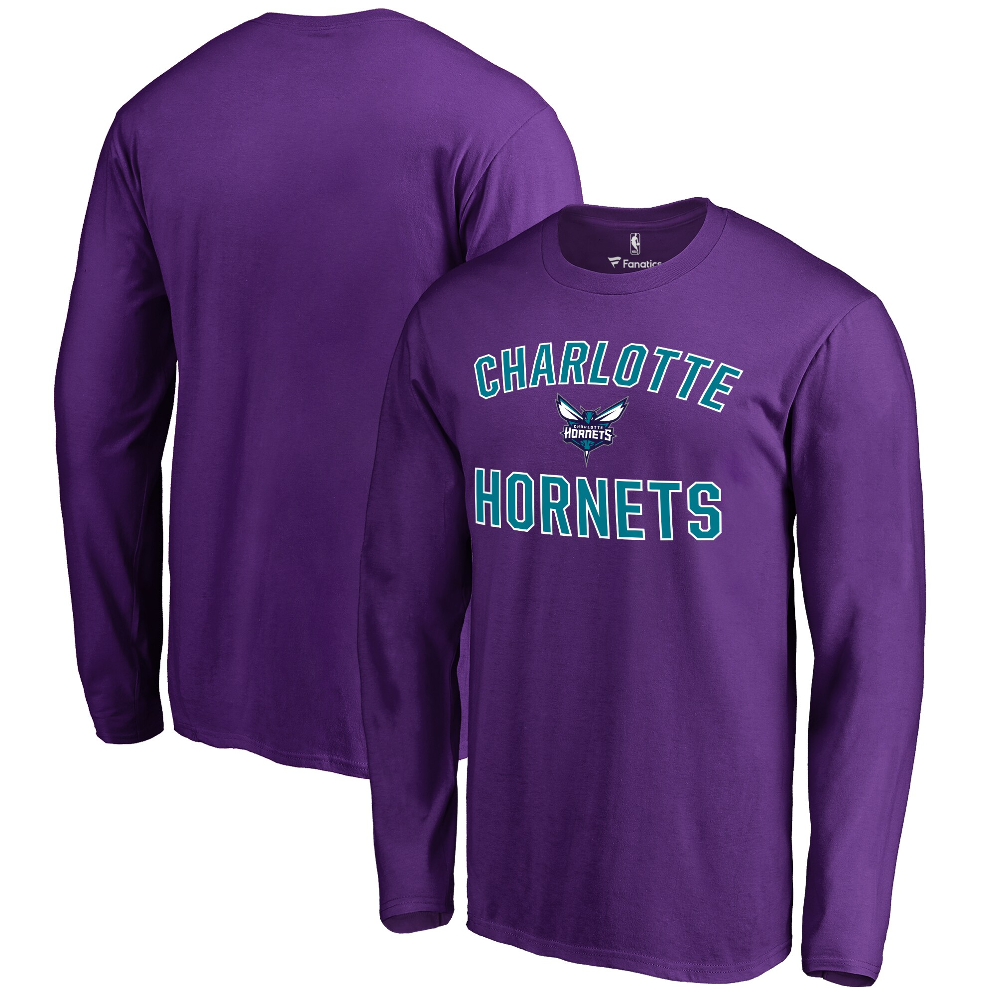 Charlotte Hornets Fanatics Branded Big & Tall Victory Arch Long Sleeve T-Shirt - Purple