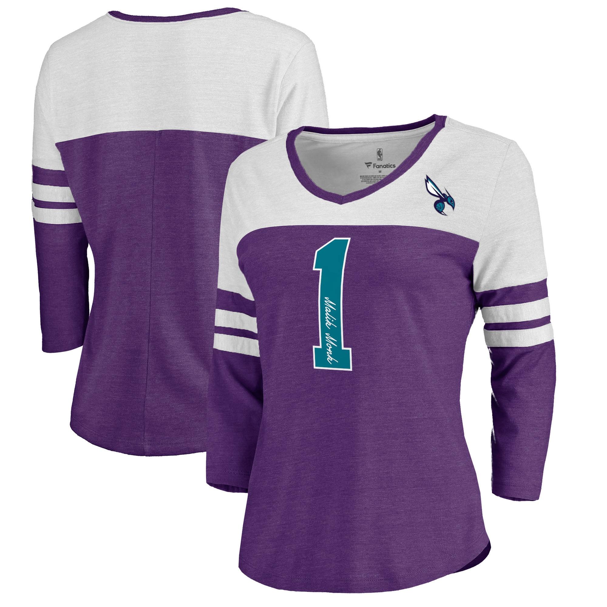 Malik Monk Charlotte Hornets Fanatics Branded Women's Starstruck Name & Number Tri-Blend 3/4-Sleeve V-Neck T-Shirt - Purple