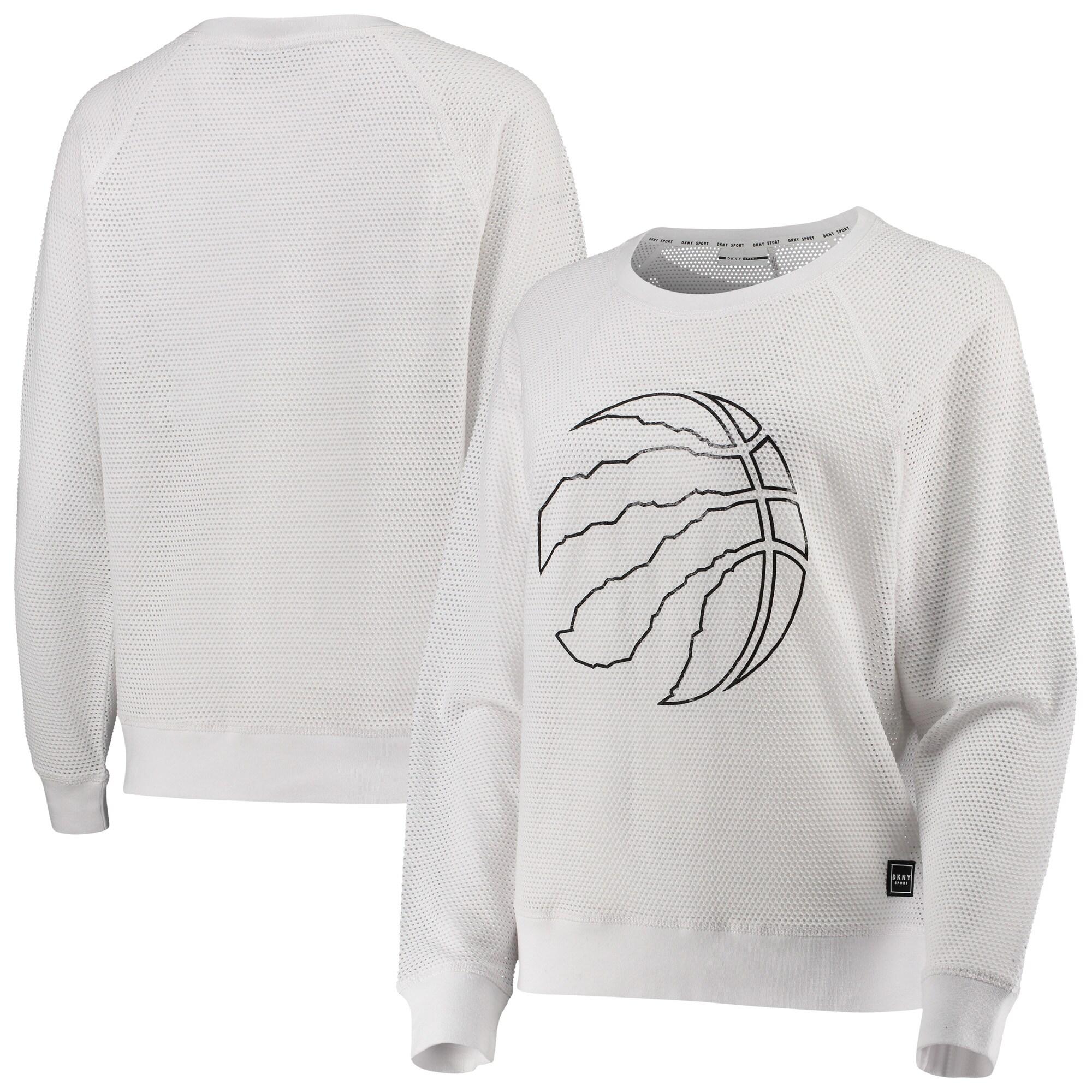 Toronto Raptors DKNY Sport Women's Lauren Mesh Pullover Raglan Sweatshirt - White