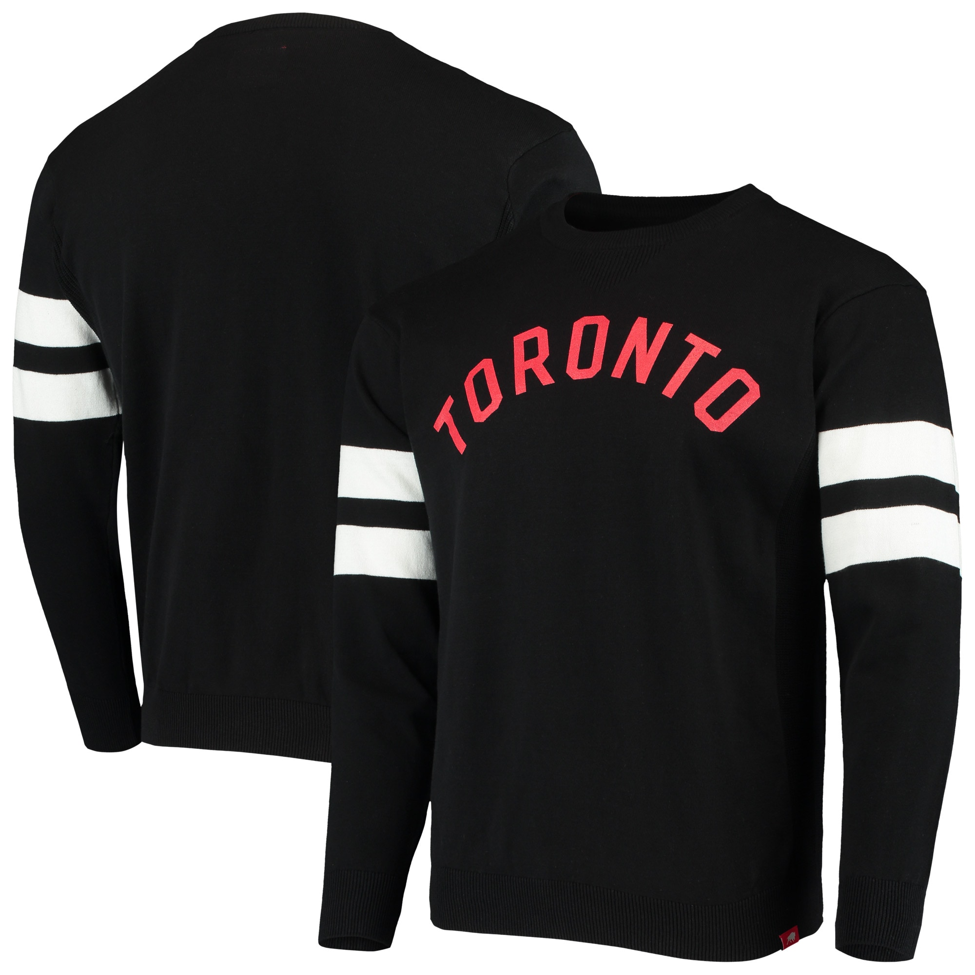 Toronto Raptors Sportiqe State Varsity Stripe Knit Pullover Sweatshirt - Black