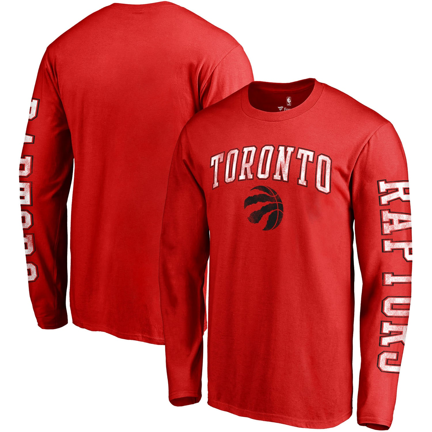Toronto Raptors Fanatics Branded Distressed Arch Primary Logo Long Sleeve T-Shirt - Red