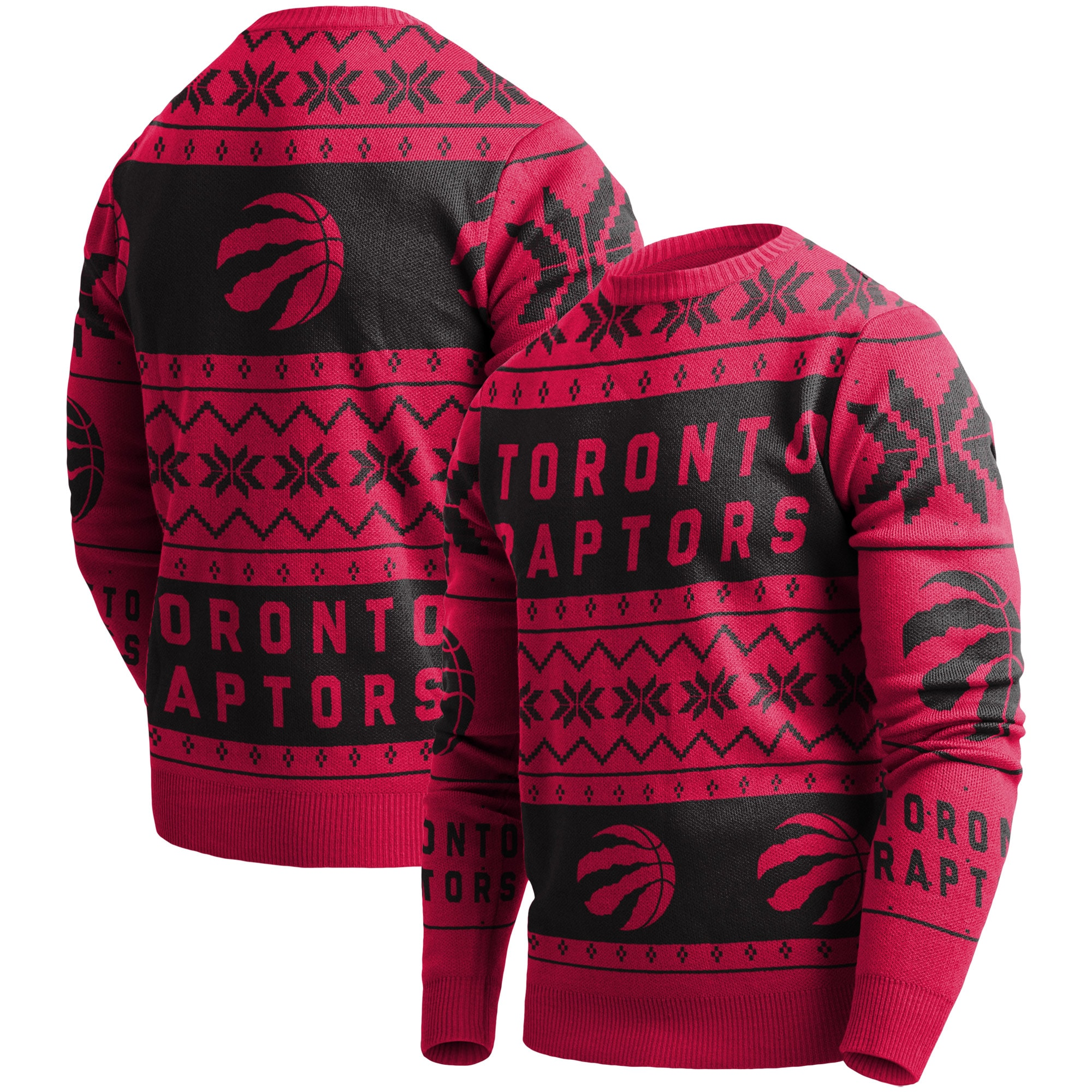 Toronto Raptors Ugly Pullover Sweater - Red