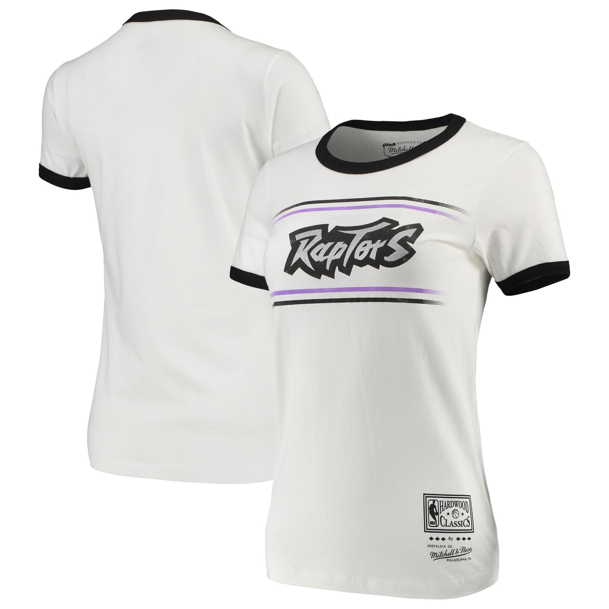Toronto Raptors Mitchell & Ness Women's Ringer T-Shirt - White