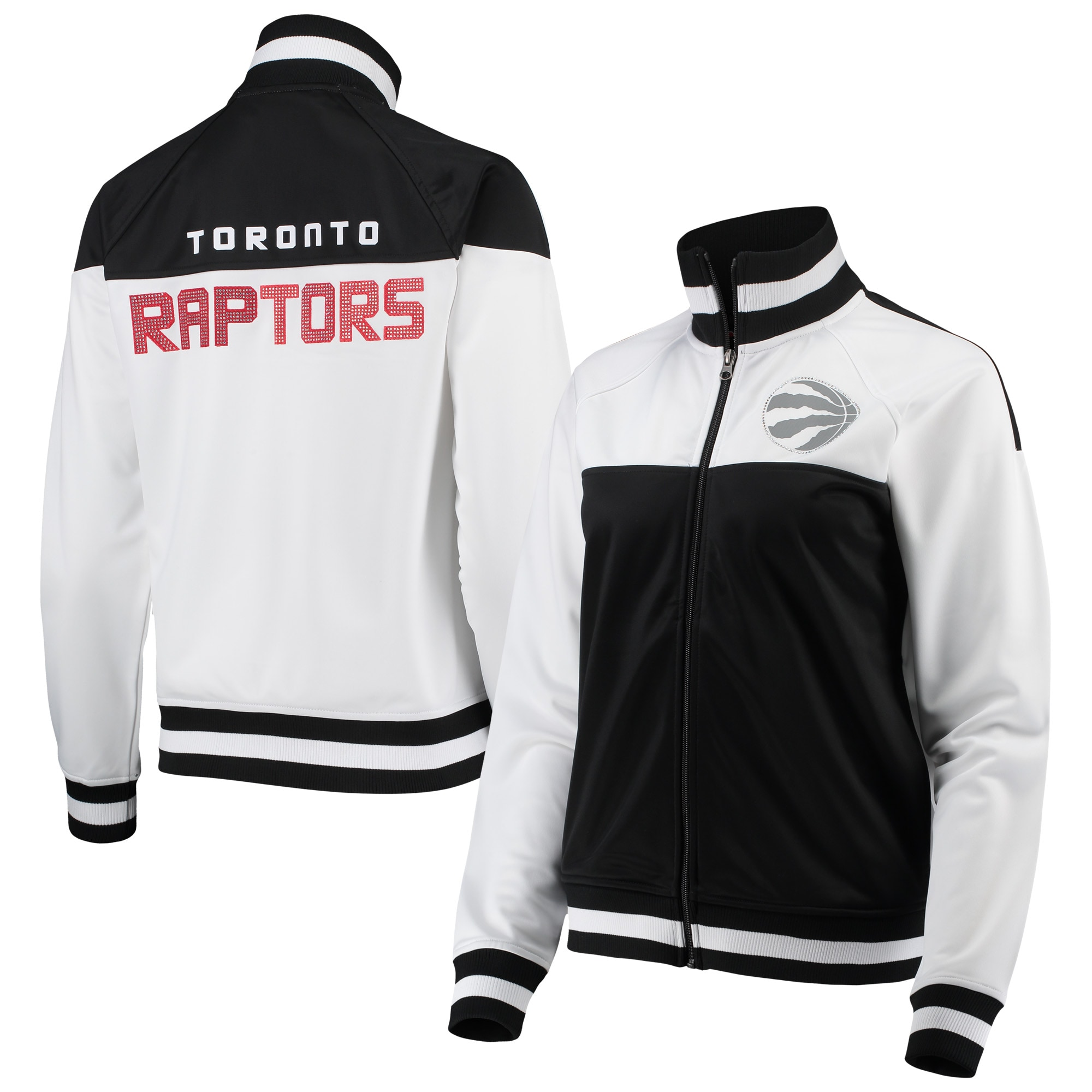 Toronto Raptors G-III 4Her by Carl Banks Women's Tip-Off Rhinestone Tricot Full-Zip Track Jacket - White/Black