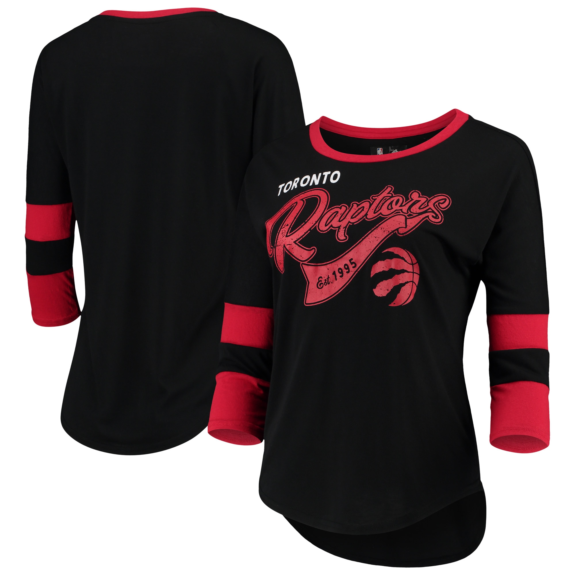 Toronto Raptors G-III 4Her by Carl Banks Women's Game Changer Viscose Jersey 3/4-Sleeve T-Shirt - Black/Red