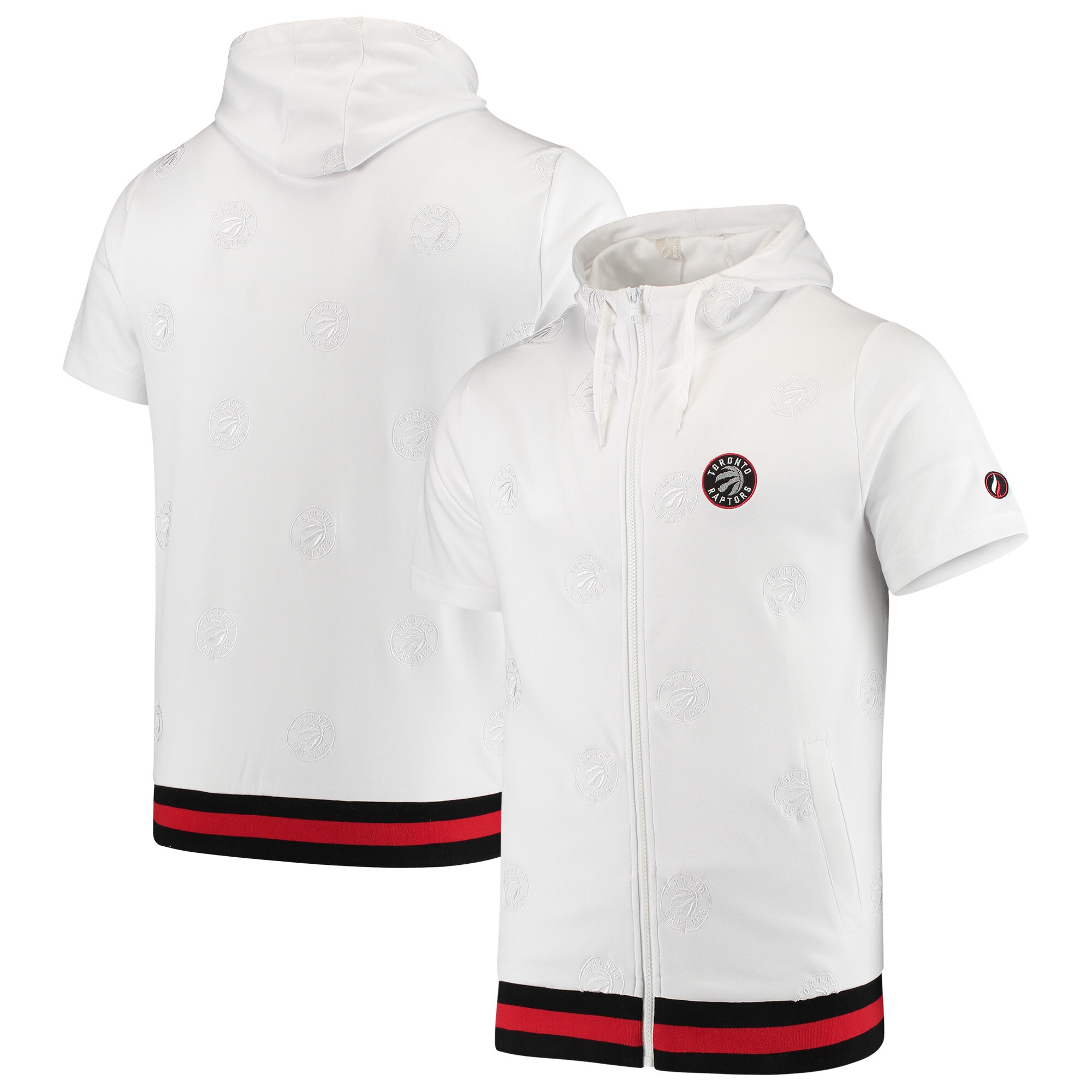 Toronto Raptors FISLL All Over Print Tonal Full-Zip Hoodie - White