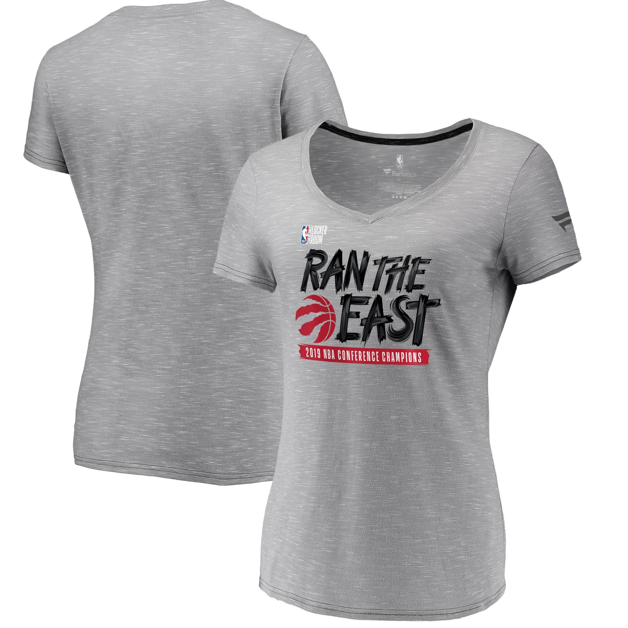 Toronto Raptors Fanatics Branded Women's 2019 Eastern Conference Champions Locker Room V-Neck T-Shirt - Gray