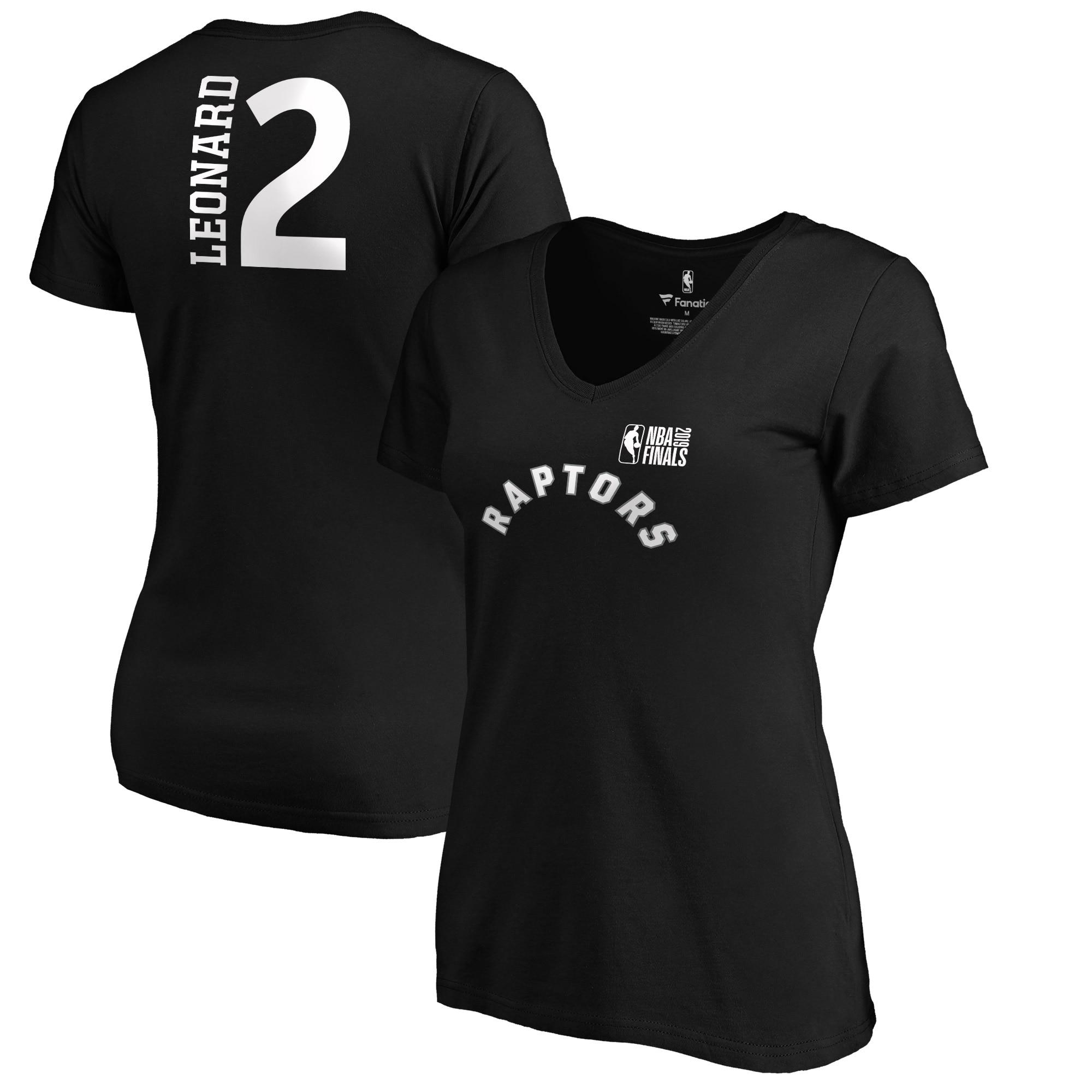Kawhi Leonard Toronto Raptors Fanatics Branded Women's 2019 NBA Finals Bound Name & Number V-Neck T-Shirt - Black