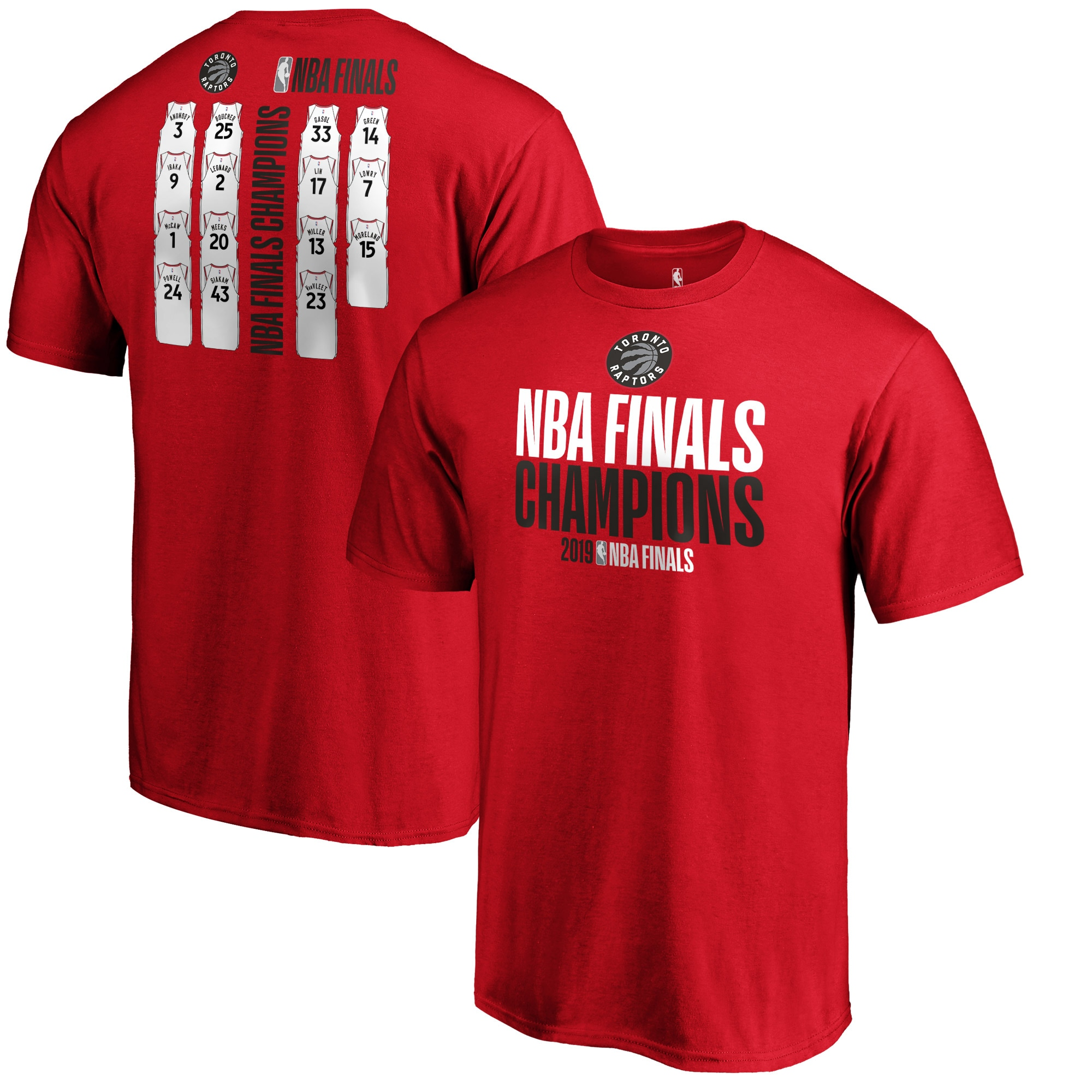Toronto Raptors Fanatics Branded 2019 NBA Finals Champions Big & Tall Team Ambition Roster T-Shirt - Red
