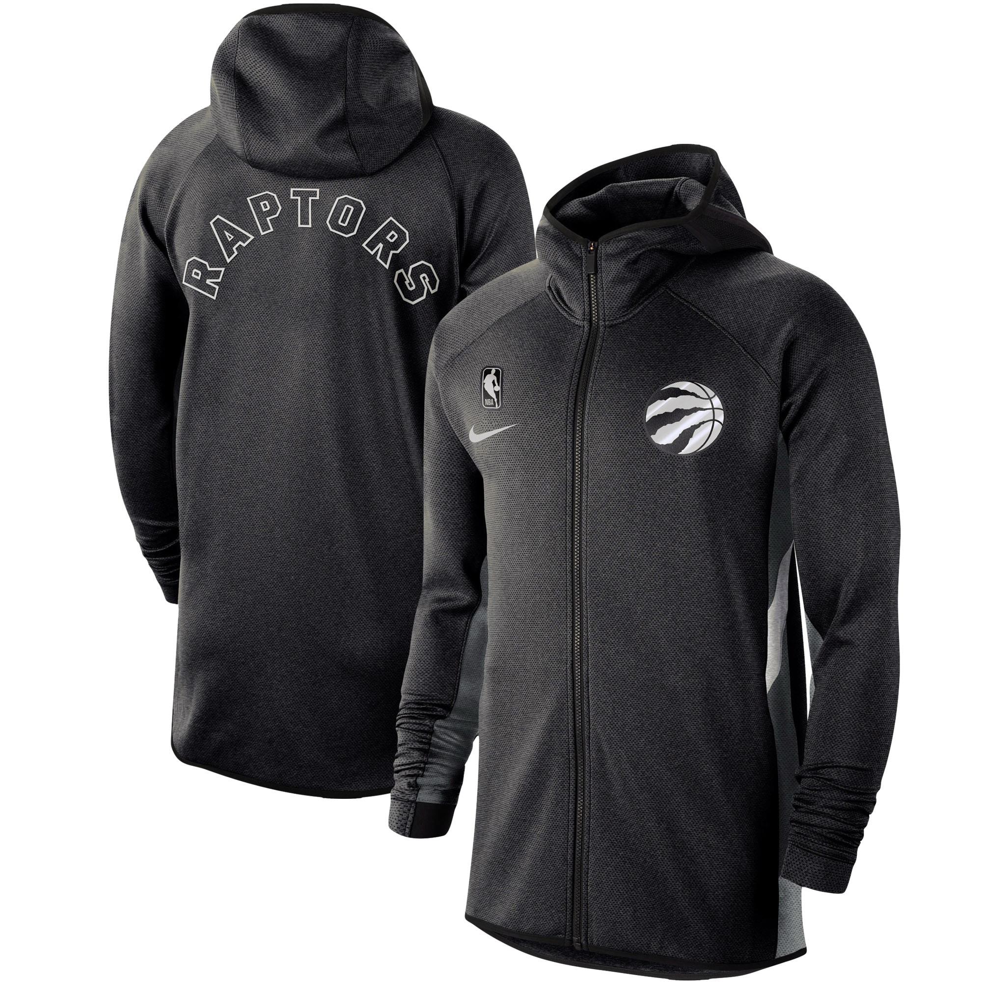 Toronto Raptors Nike Authentic Showtime Therma Flex Performance Full-Zip Hoodie - Heathered Black
