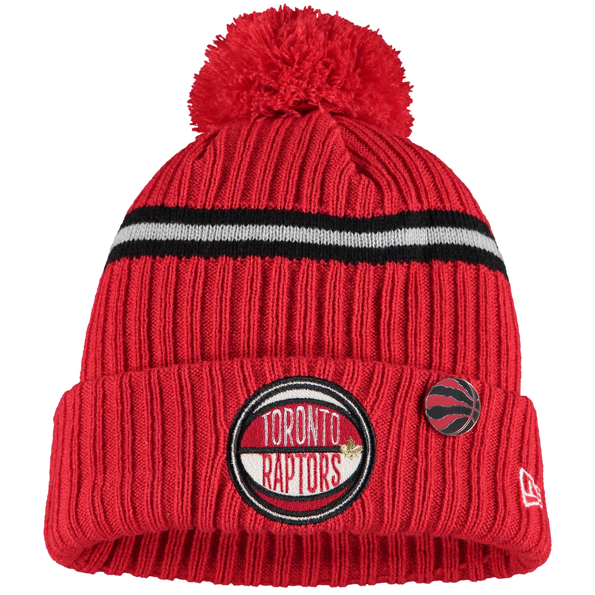 Toronto Raptors New Era Youth 2019 NBA Draft Cuffed Knit Hat - Red