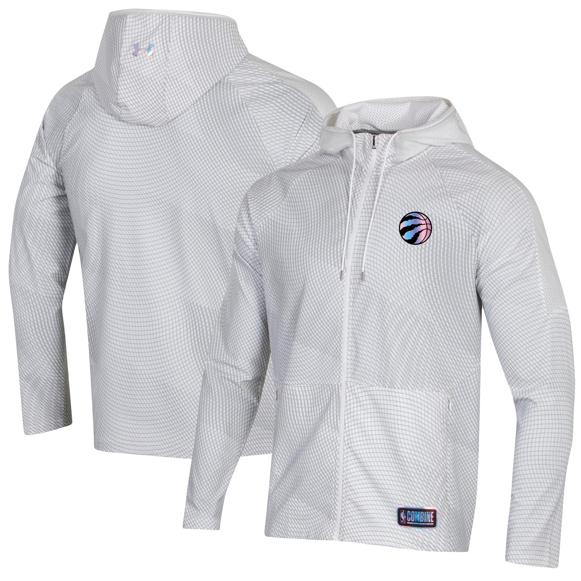 Toronto Raptors Under Armour Combine Authentic Holographic Woven Full-Zip Jacket - White
