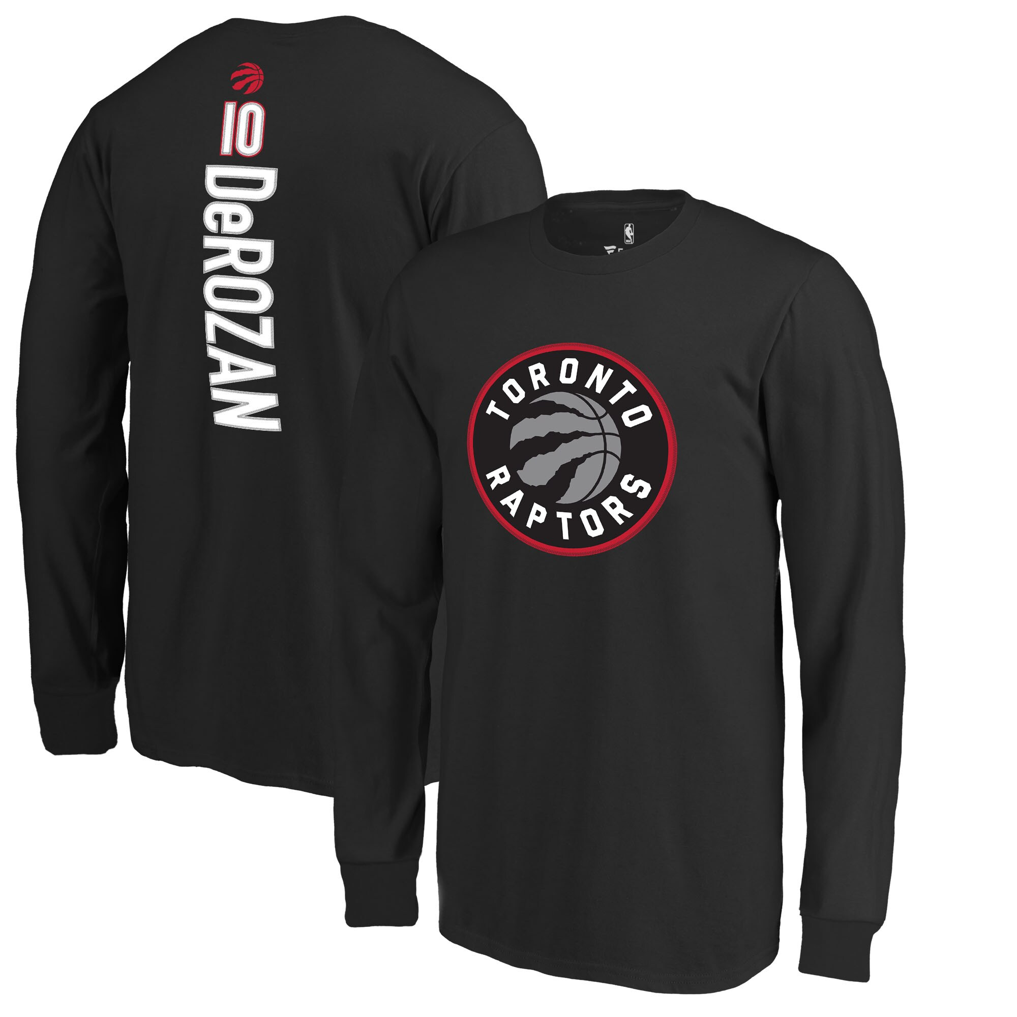 DeMar DeRozan Toronto Raptors Fanatics Branded Youth Stacked Name & Number Long Sleeve T-Shirt - Black
