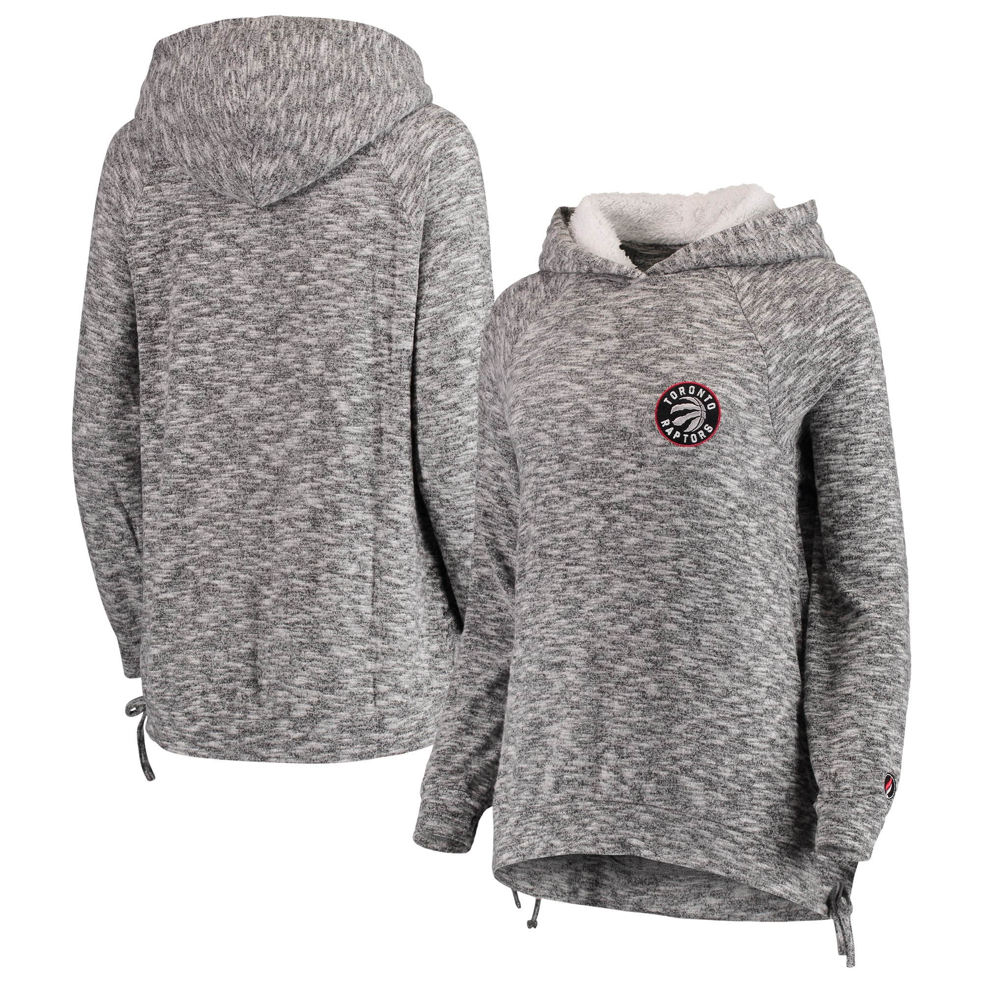 Toronto Raptors FISLL Women's Side Lace Sherpa Hacci Tri-Blend Pullover Hoodie - Heathered Gray