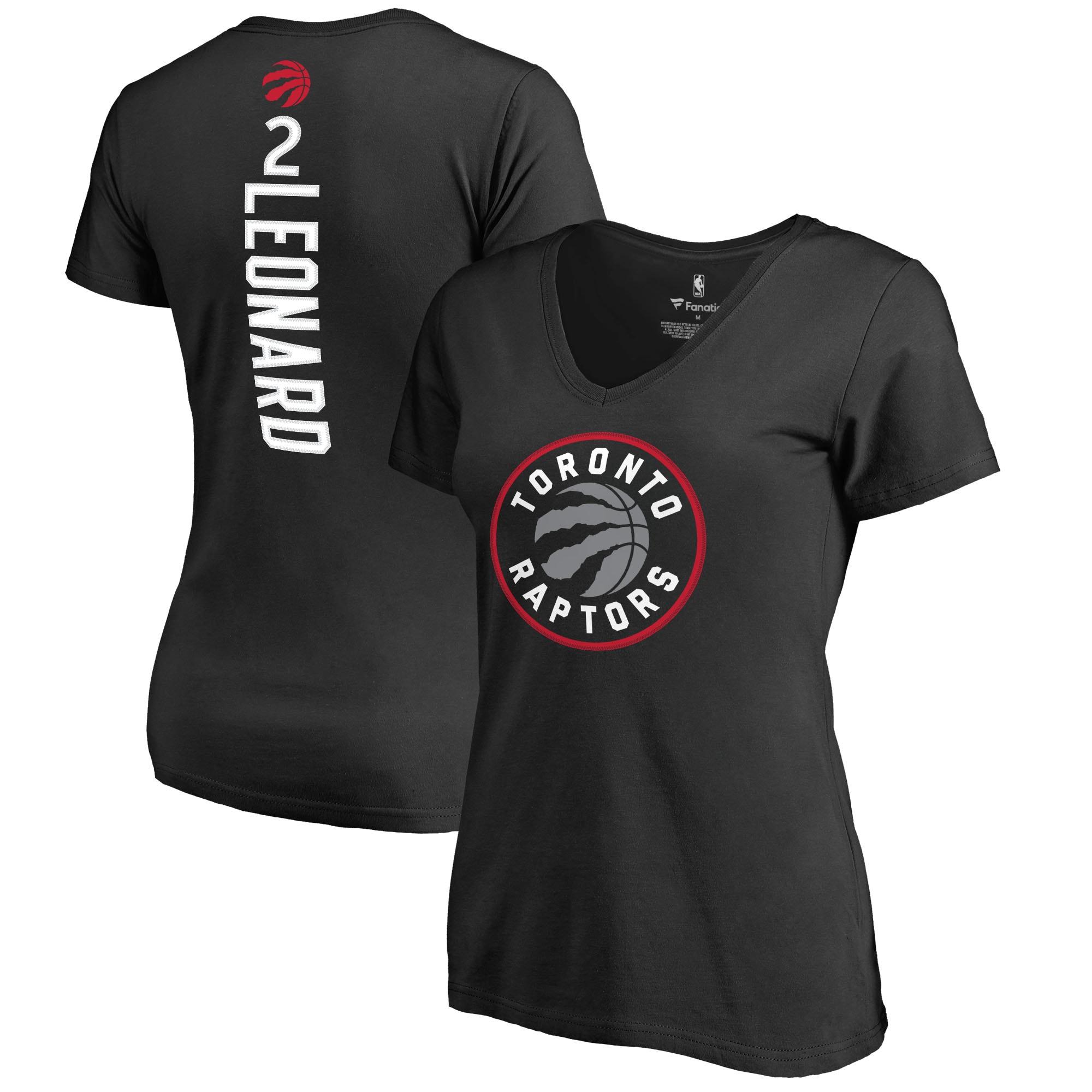 Kawhi Leonard Toronto Raptors Fanatics Branded Women's Team Backer Name & Number V-Neck T-Shirt - Black