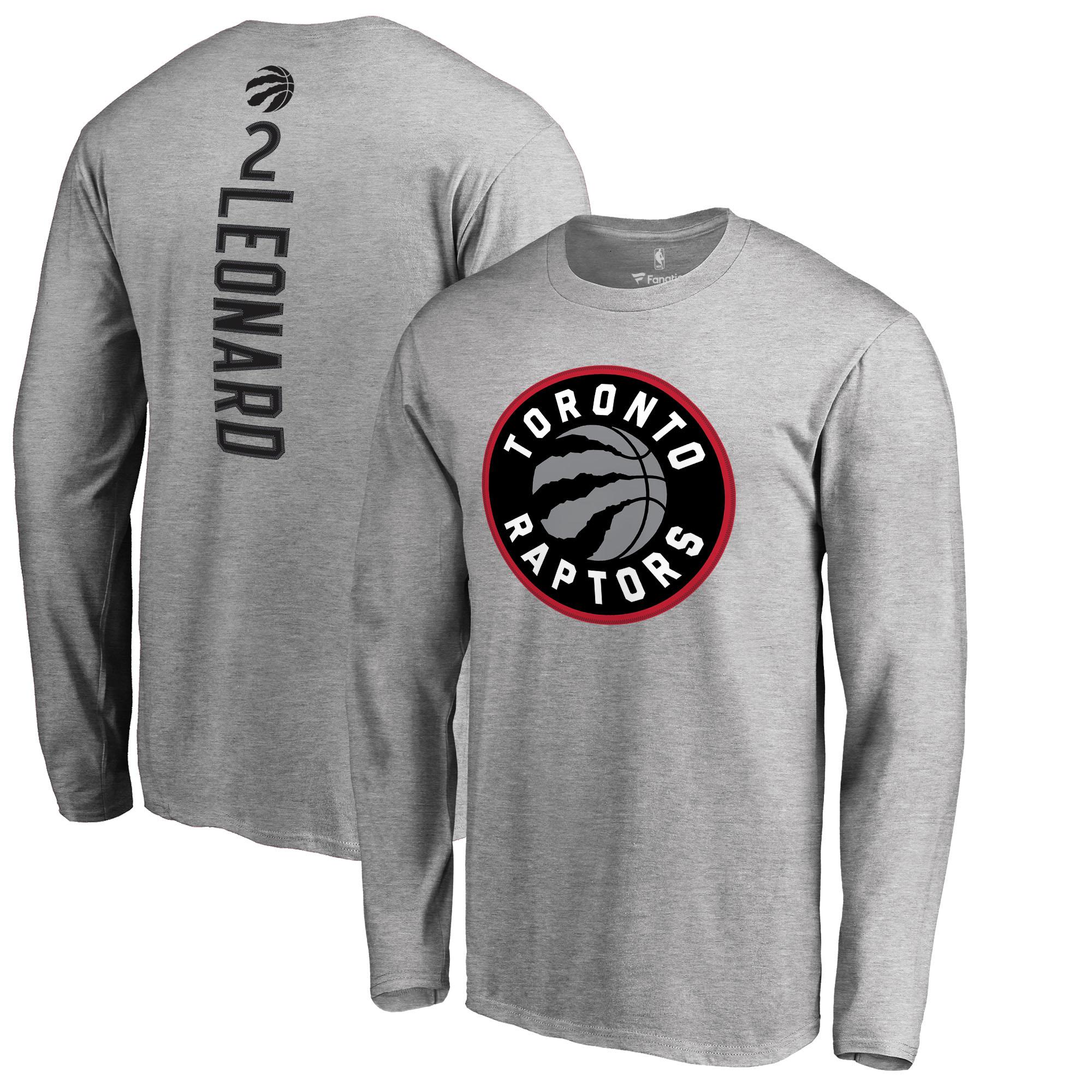 Kawhi Leonard Toronto Raptors Fanatics Branded Team Backer Name & Number Long Sleeve T-Shirt - Heathered Gray