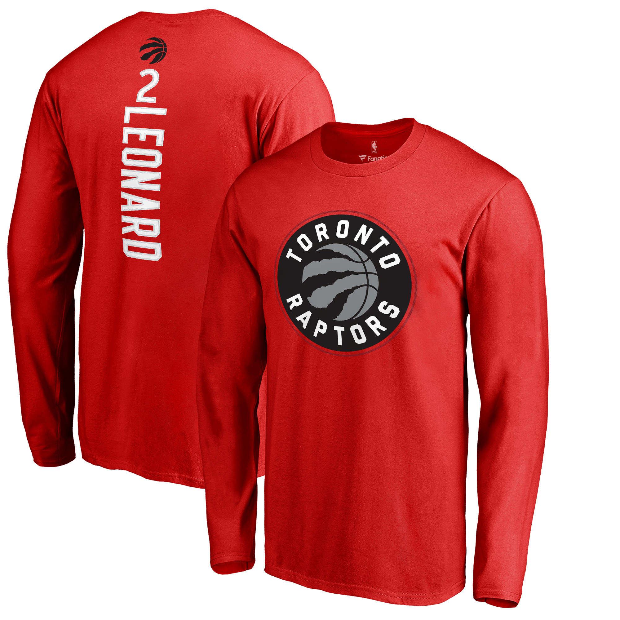 Kawhi Leonard Toronto Raptors Fanatics Branded Team Backer Name & Number Long Sleeve T-Shirt - Red