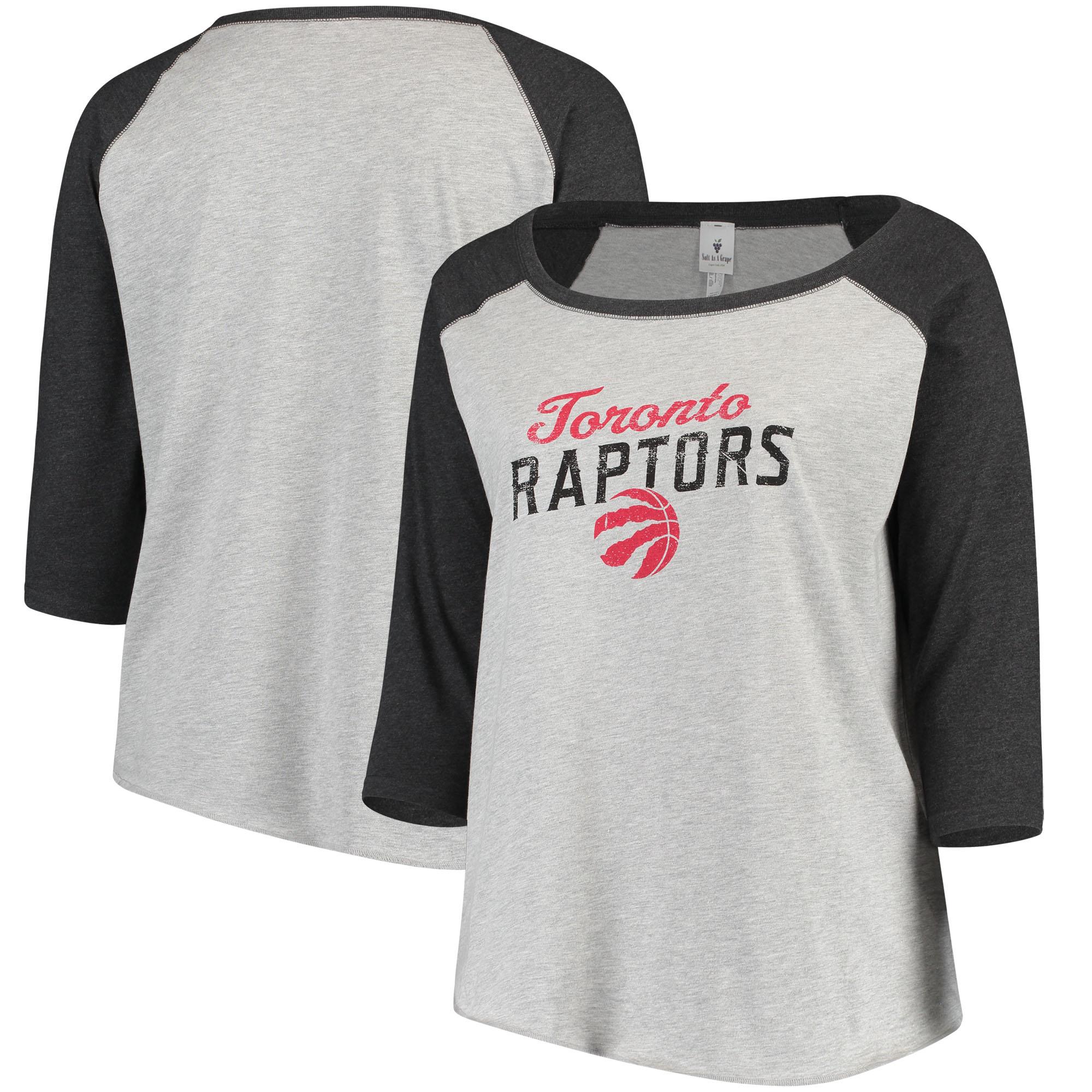 Toronto Raptors Soft as a Grape Women's Plus Size Raglan 3/4-Sleeve T-Shirt - Heathered Gray/Charcoal