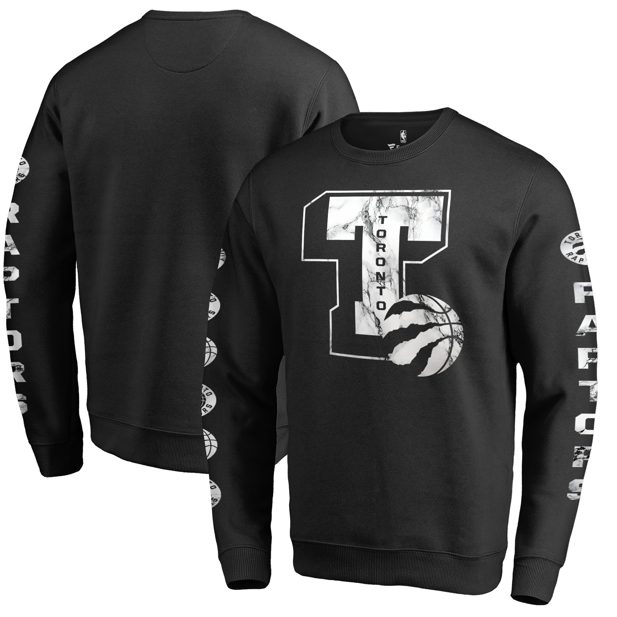 Toronto Raptors Fanatics Branded Letterman Fleece Crew Neck Sweatshirt - Black