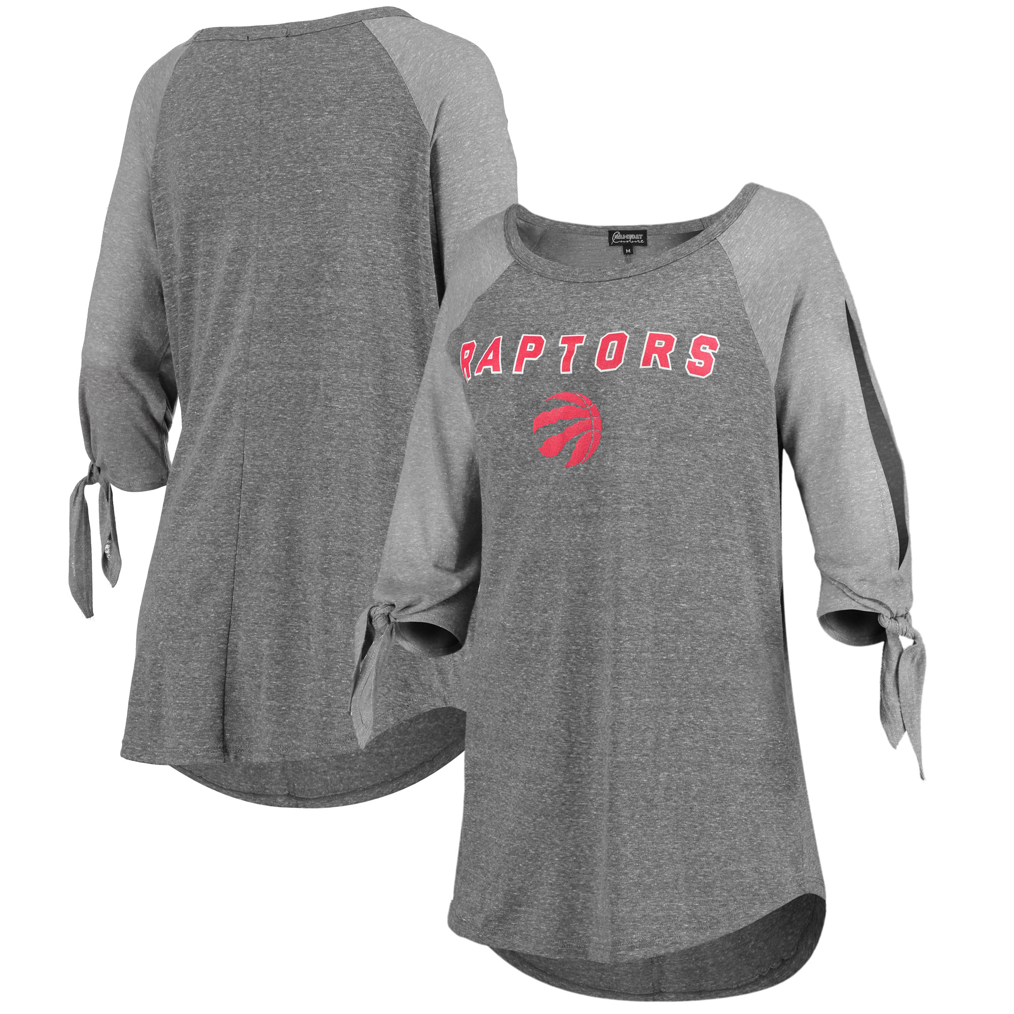 Toronto Raptors Women's Open Shoulder Raglan Tri-Blend 3/4-Sleeve T-Shirt - Heathered Gray