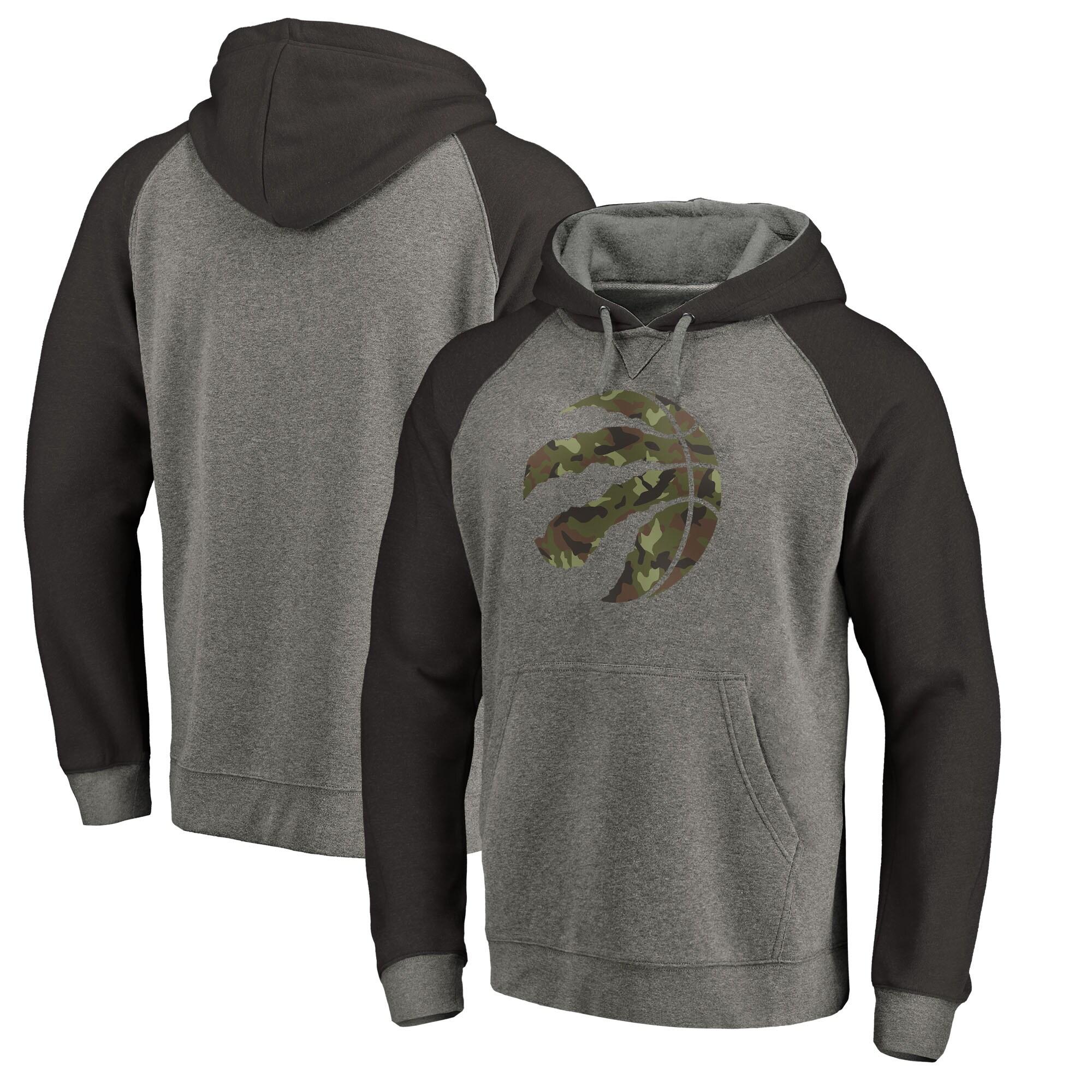 Toronto Raptors Fanatics Branded Prestige Camo Tri-Blend Pullover Hoodie - Heathered Gray
