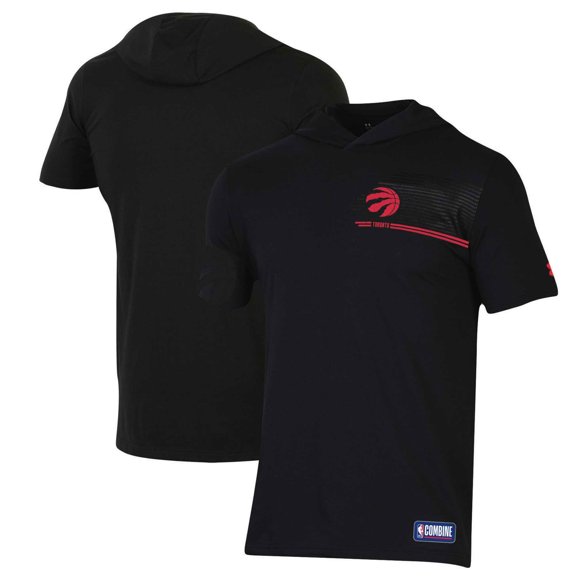 Toronto Raptors Under Armour Combine Authentic Baseline Hoodie Performance T-Shirt - Black