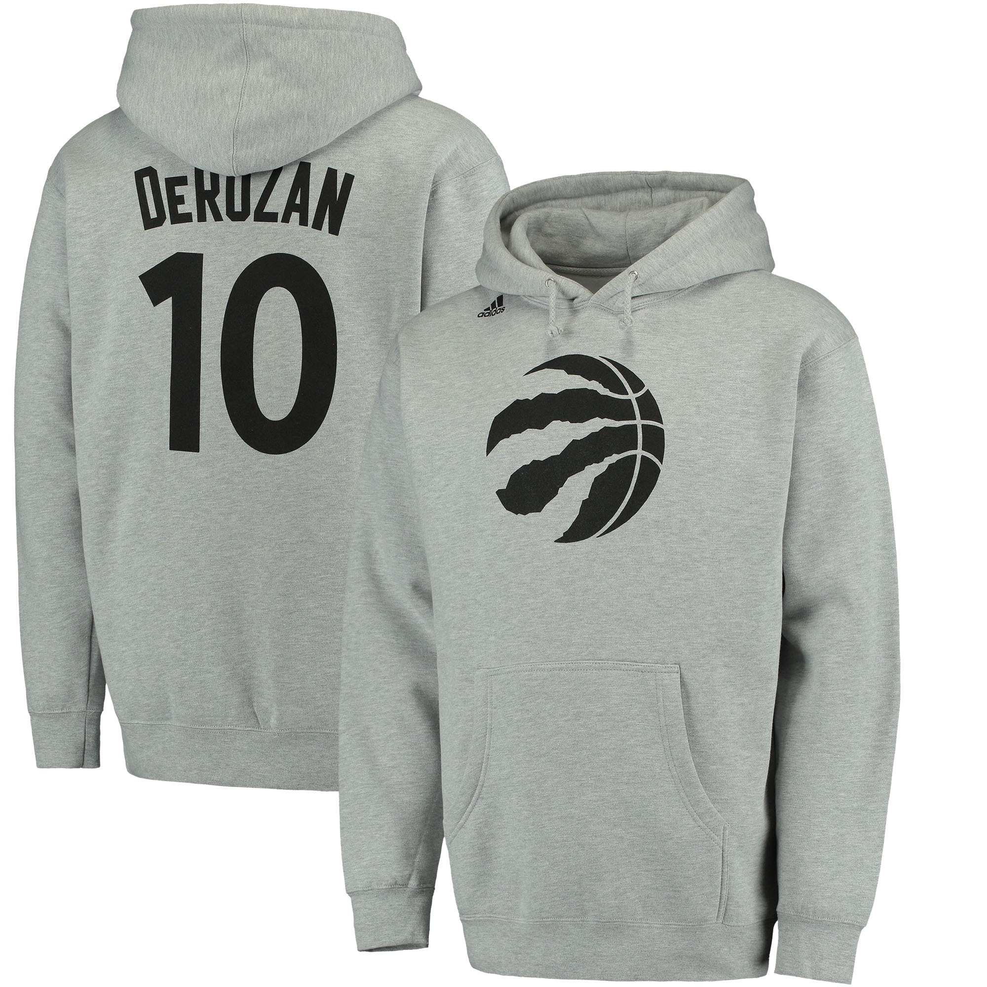 DeMar DeRozan Toronto Raptors adidas Name and Number Pullover Hoodie - Heathered Gray