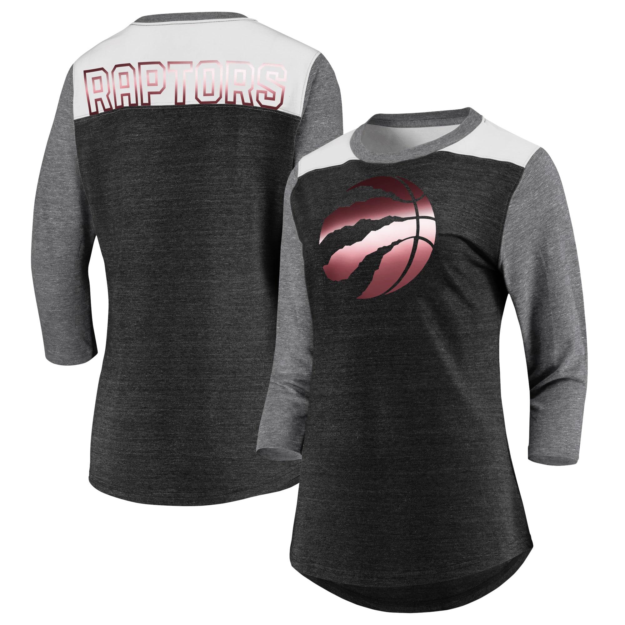 Toronto Raptors Fanatics Branded Women's Iconic 3/4-Sleeve Tri-Blend T-Shirt - Black/Heathered Gray