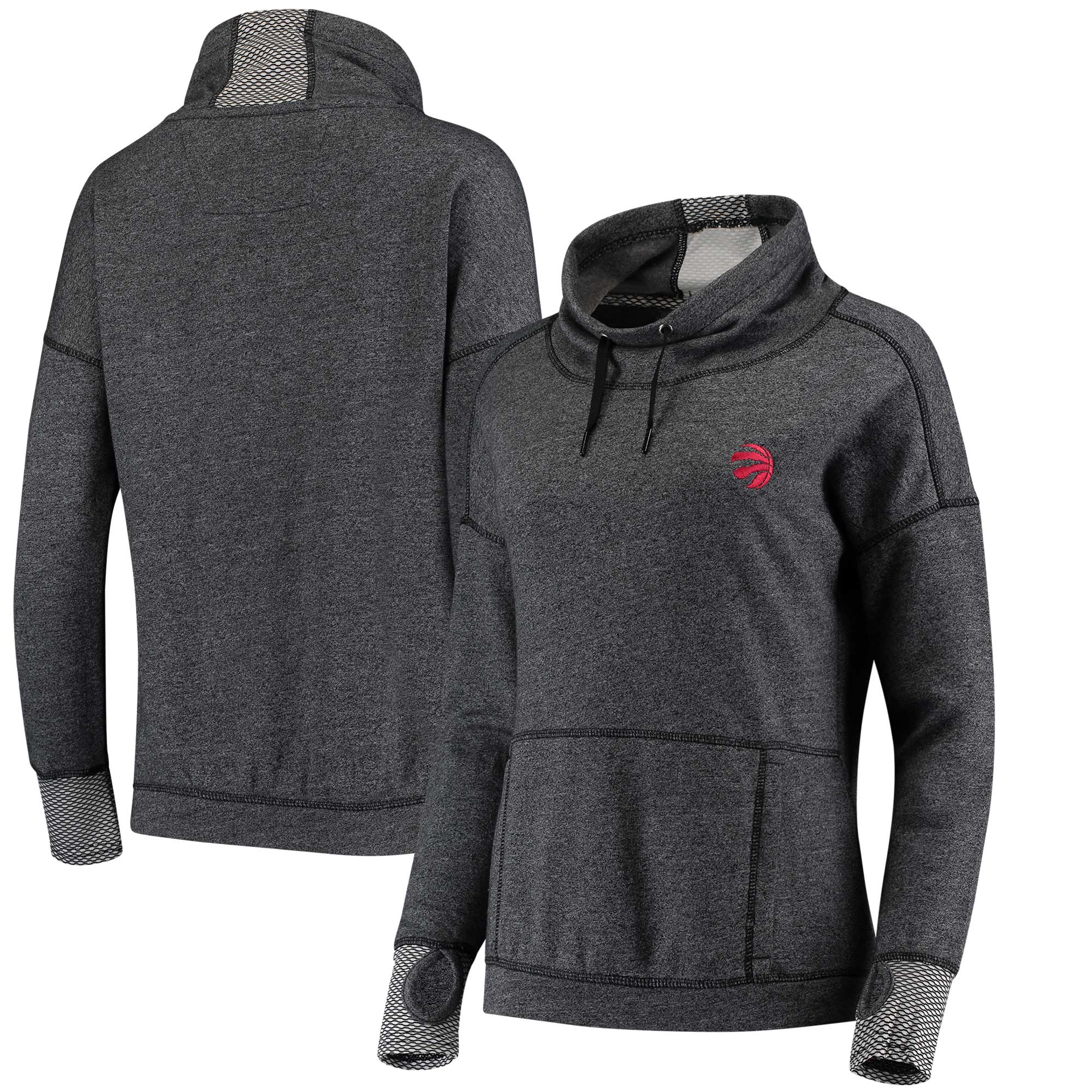 Toronto Raptors Antigua Women's Snap Cowl Neck Pullover Sweatshirt - Heathered Black