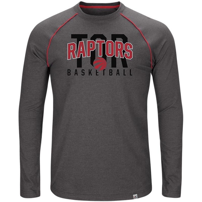Toronto Raptors Majestic Hitting the Mark Long Sleeve Tri-Blend T-Shirt - Charcoal