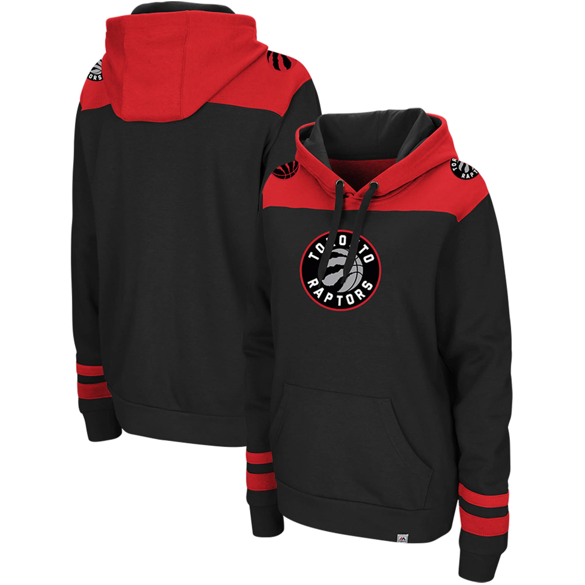 Toronto Raptors Majestic Triple Double Pullover Hoodie - Black/Red