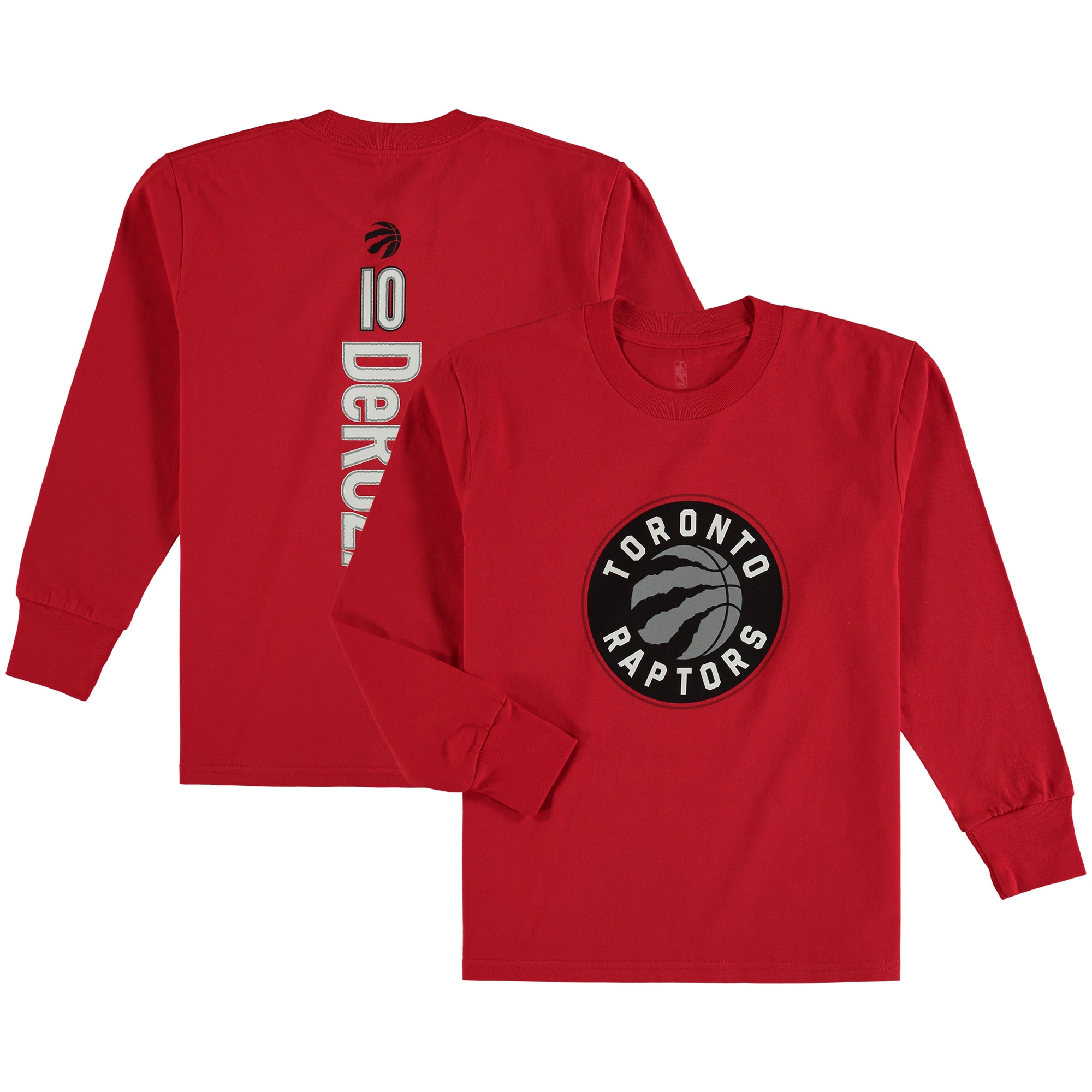 DeMar DeRozan Toronto Raptors Fanatics Branded Youth Stacked Name & Number Long Sleeve T-Shirt - Red