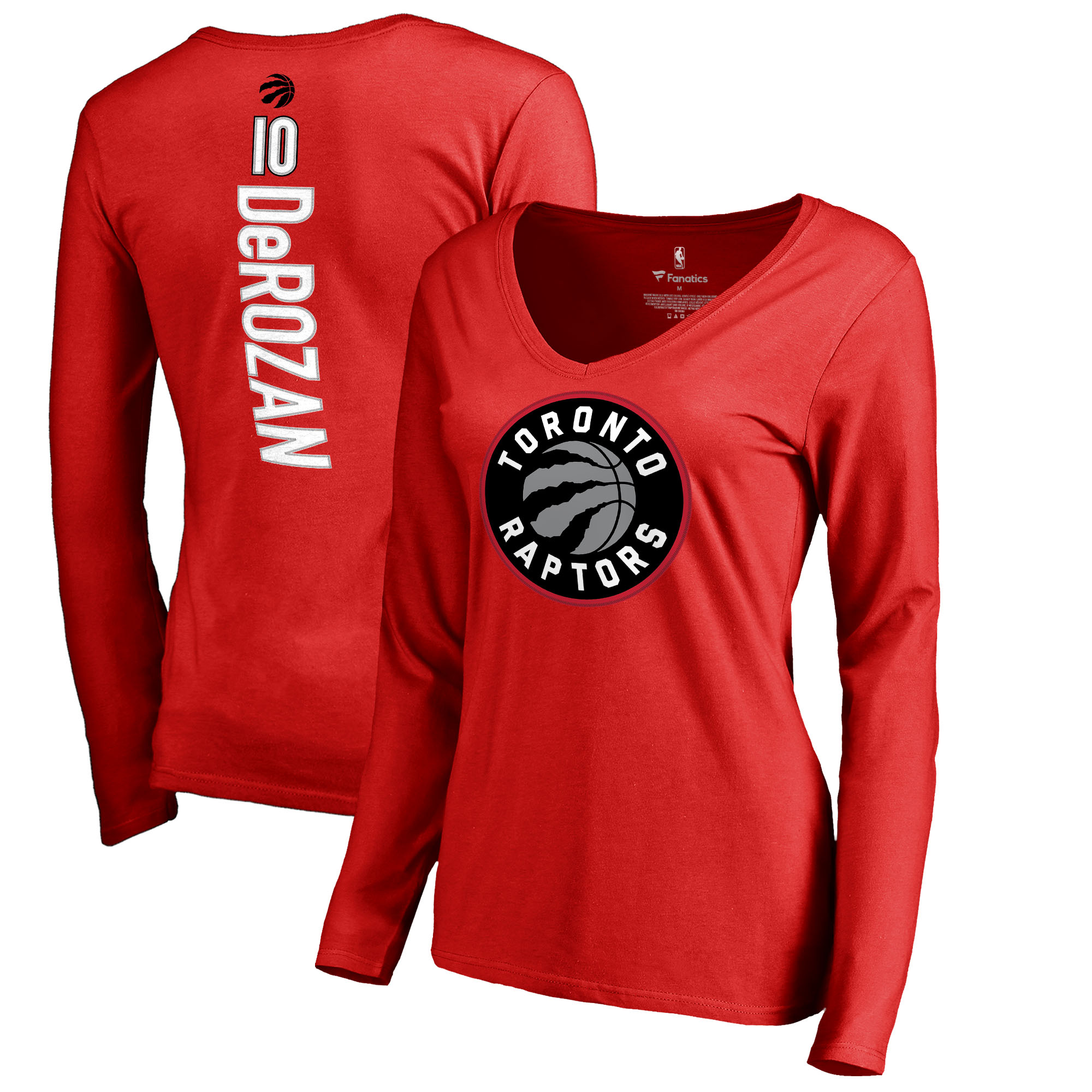 DeMar DeRozan Toronto Raptors Fanatics Branded Women's Backer Name & Number Long Sleeve V-Neck T-Shirt - Red