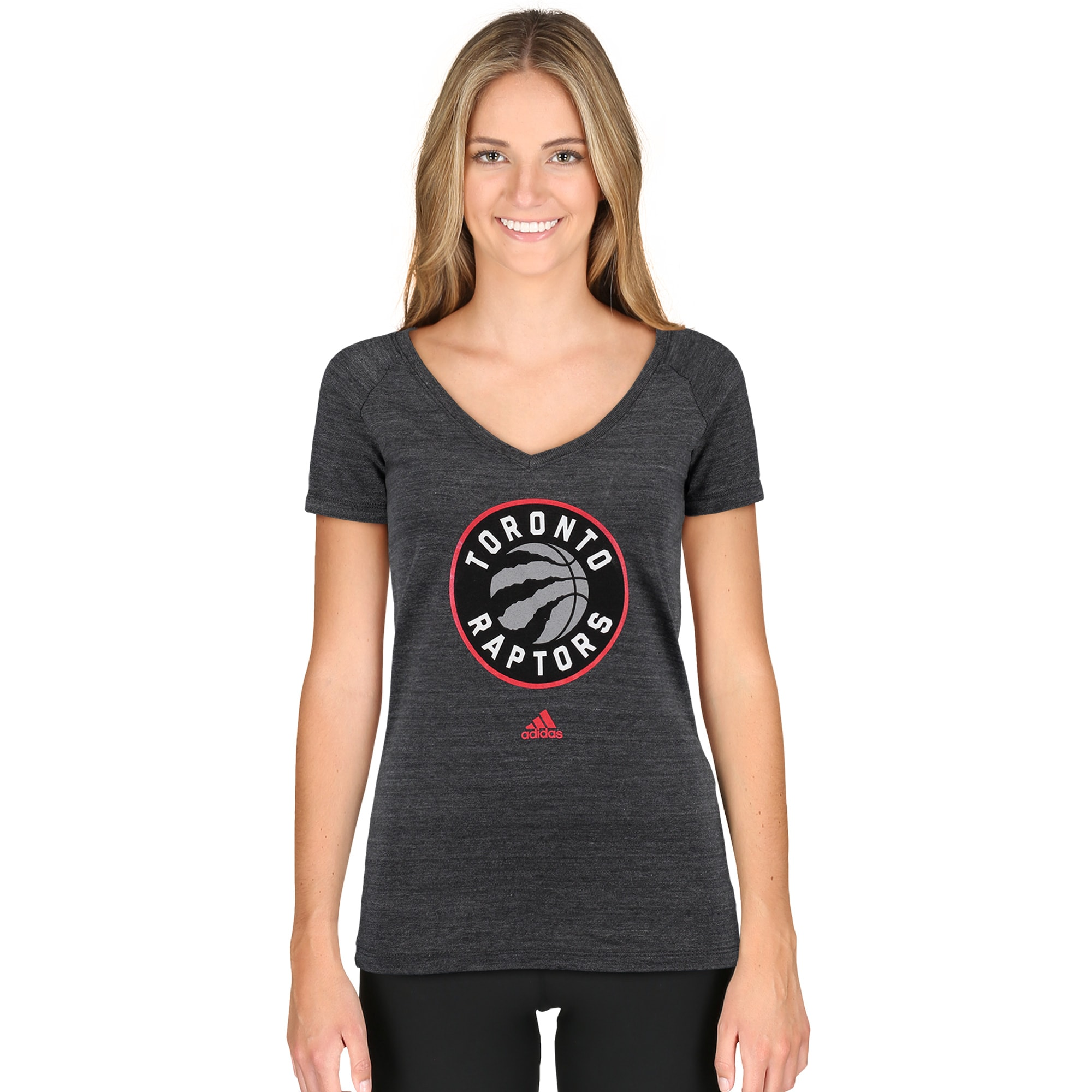 Toronto Raptors adidas Women's Primary Logo Tri-Blend T-Shirt - Black