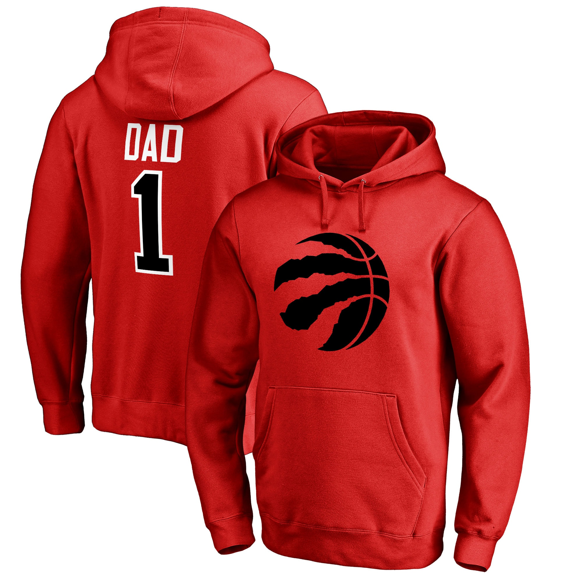 Toronto Raptors #1 Dad Pullover Hoodie - Red