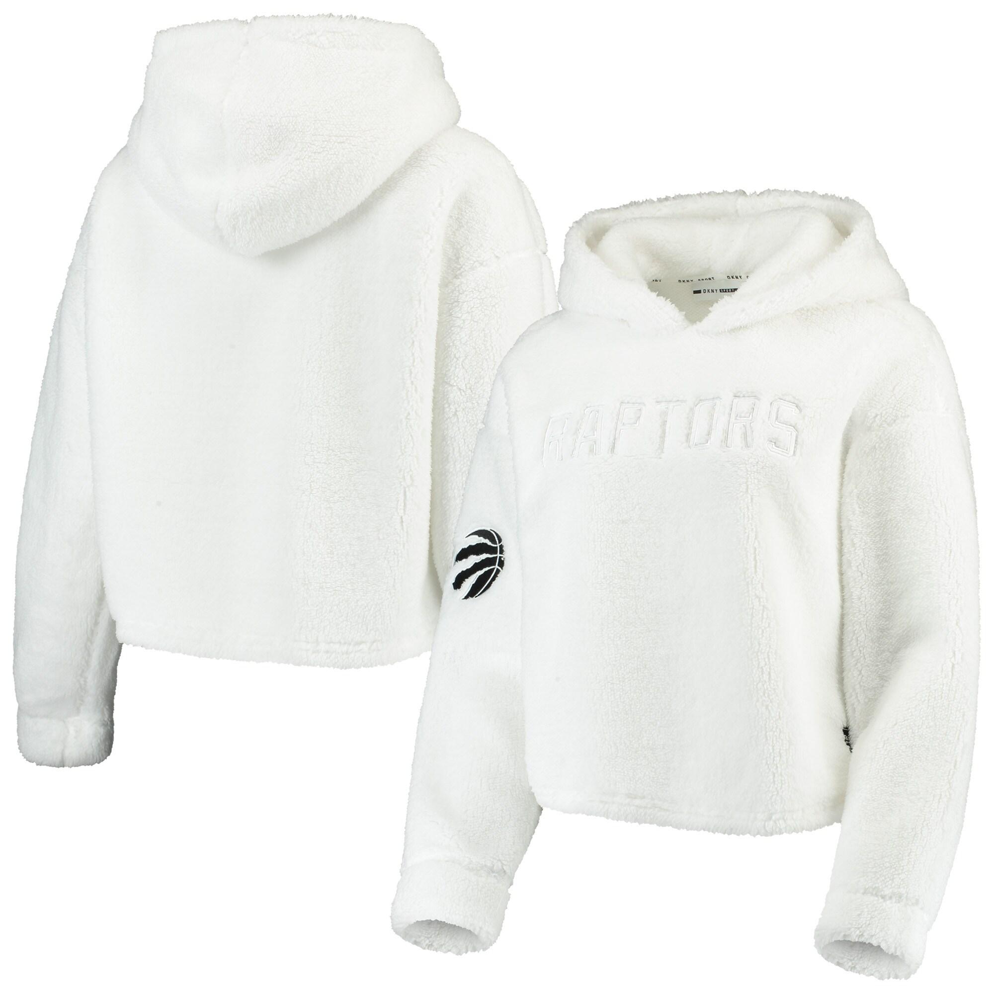 Toronto Raptors DKNY Sport Women's Cozy Pullover Hoodie - White