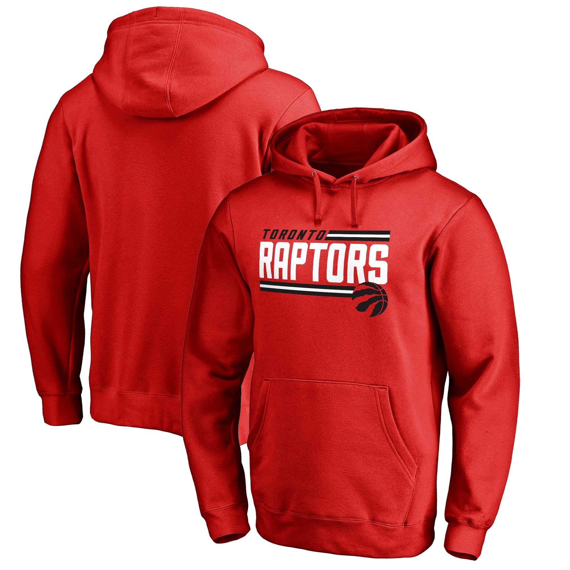 Toronto Raptors Fanatics Branded Onside Stripe Pullover Hoodie - Red