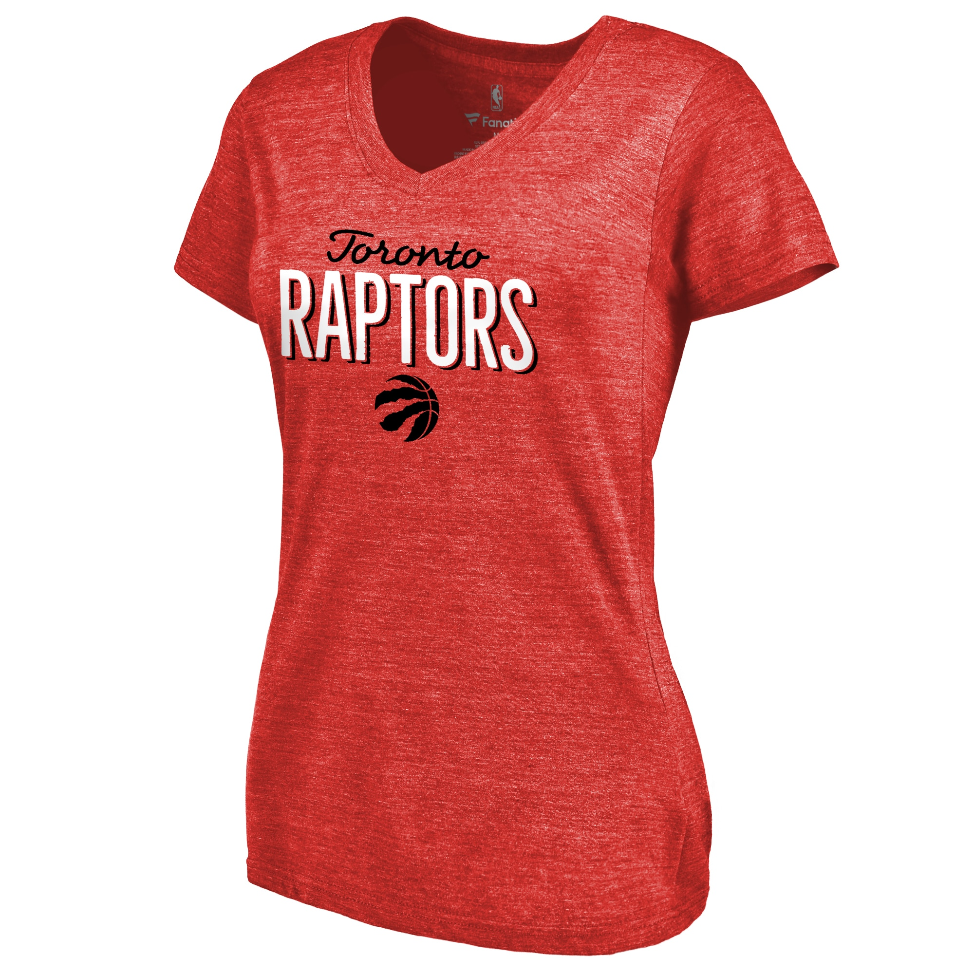 Toronto Raptors Women's Nostalgia Tri-Blend V-Neck T-Shirt - Red
