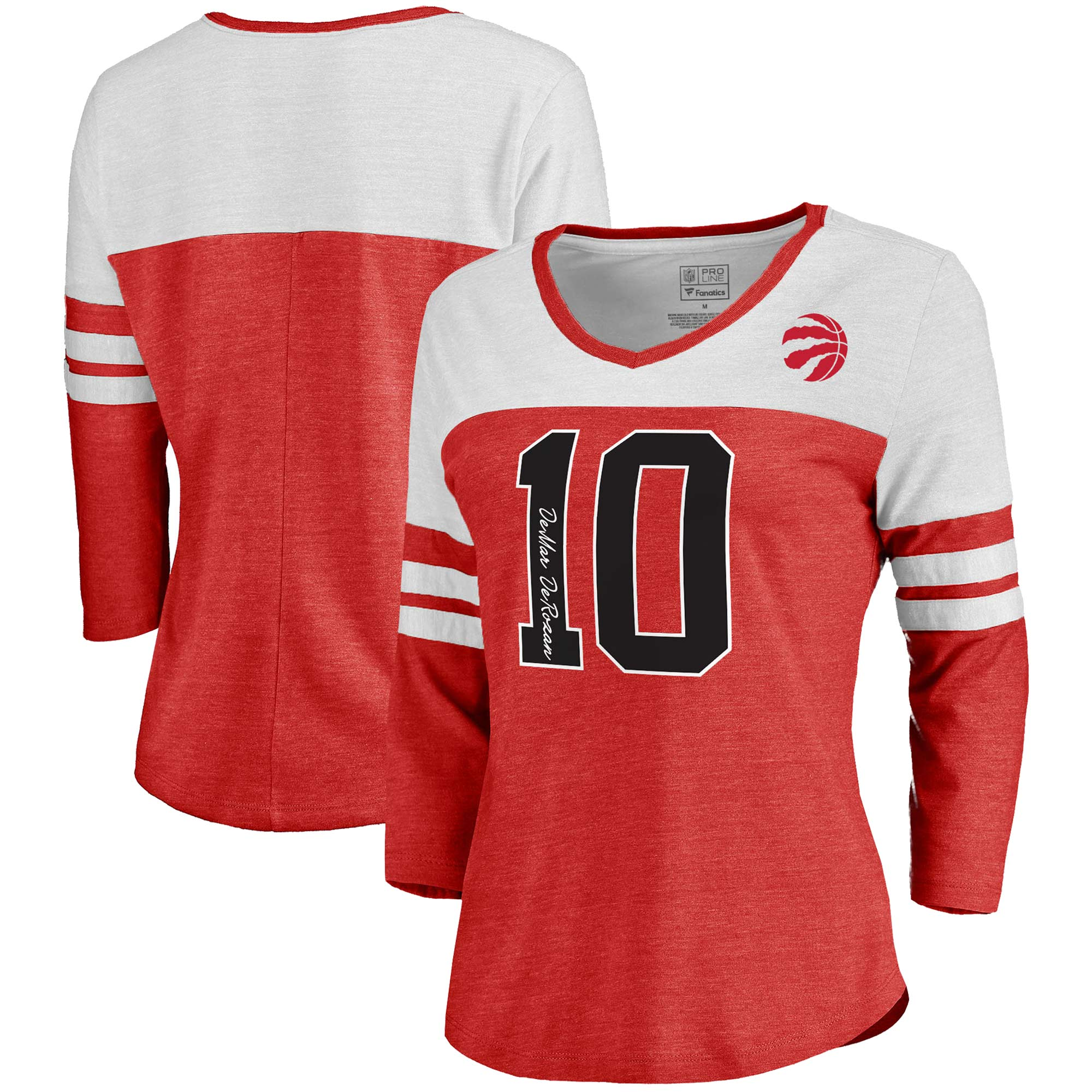 DeMar DeRozan Toronto Raptors Fanatics Branded Women's Starstruck Name & Number Tri-Blend 3/4-Sleeve V-Neck T-Shirt - Red