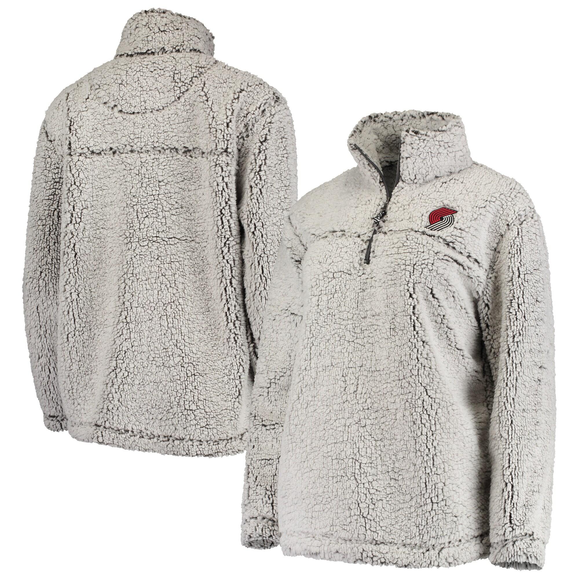 Portland Trail Blazers G-III Sports by Carl Banks Women's Sherpa Quarter-Zip Pullover Jacket - Gray