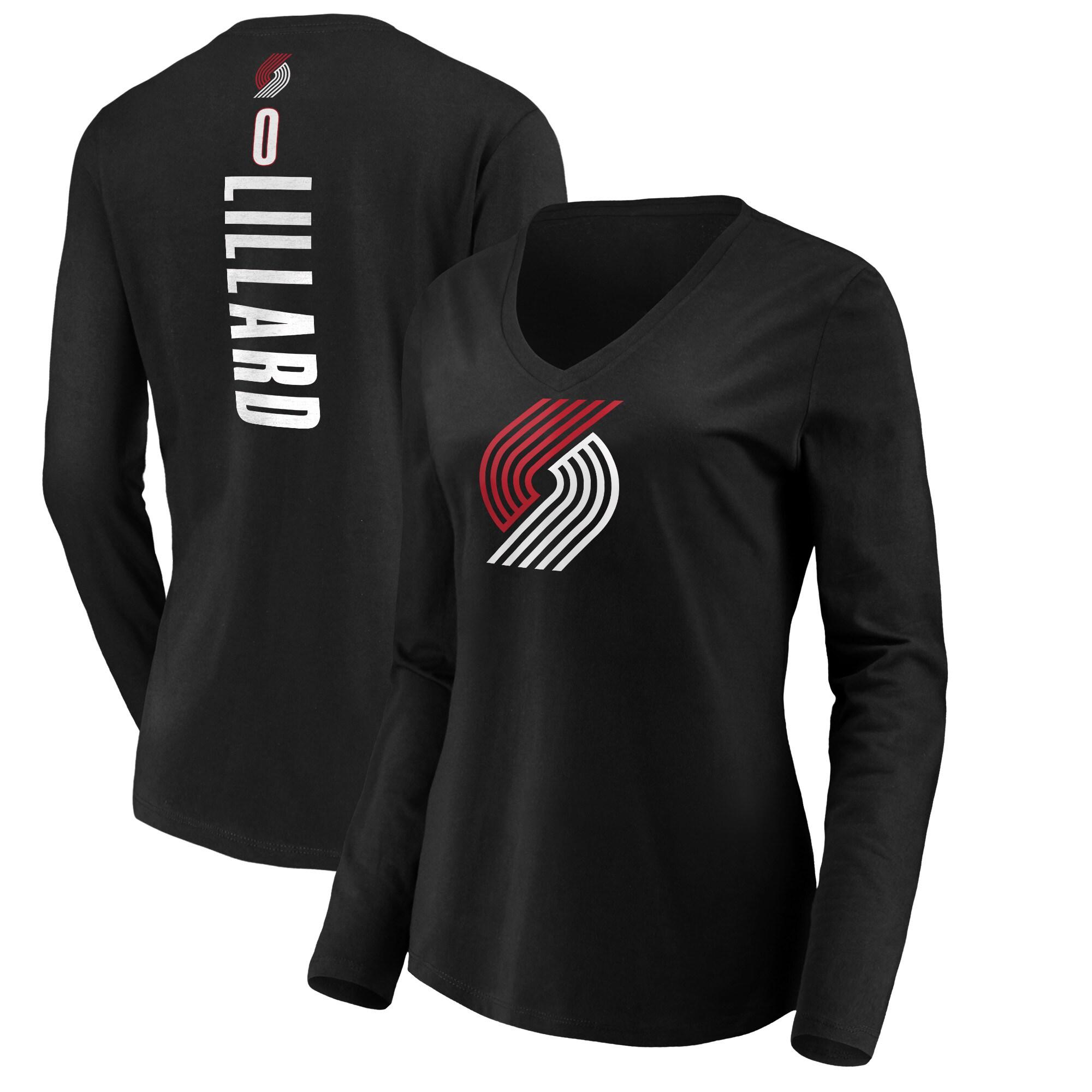 Damian Lillard Portland Trail Blazers Fanatics Branded Women's Playmaker Name & Number Long Sleeve V-Neck T-Shirt - Black