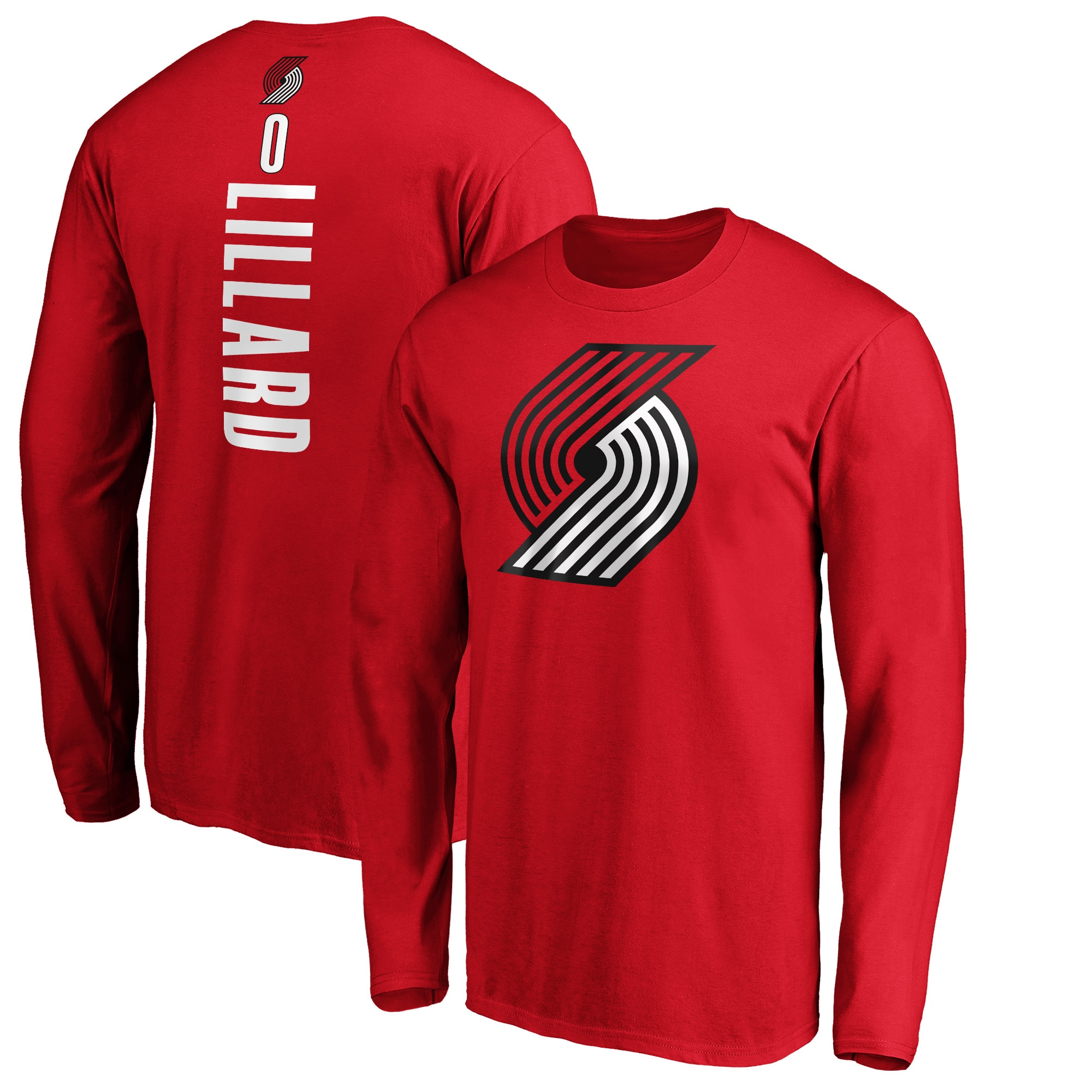 Damian Lillard Portland Trail Blazers Fanatics Branded Playmaker Name & Number Long Sleeve T-Shirt - Red