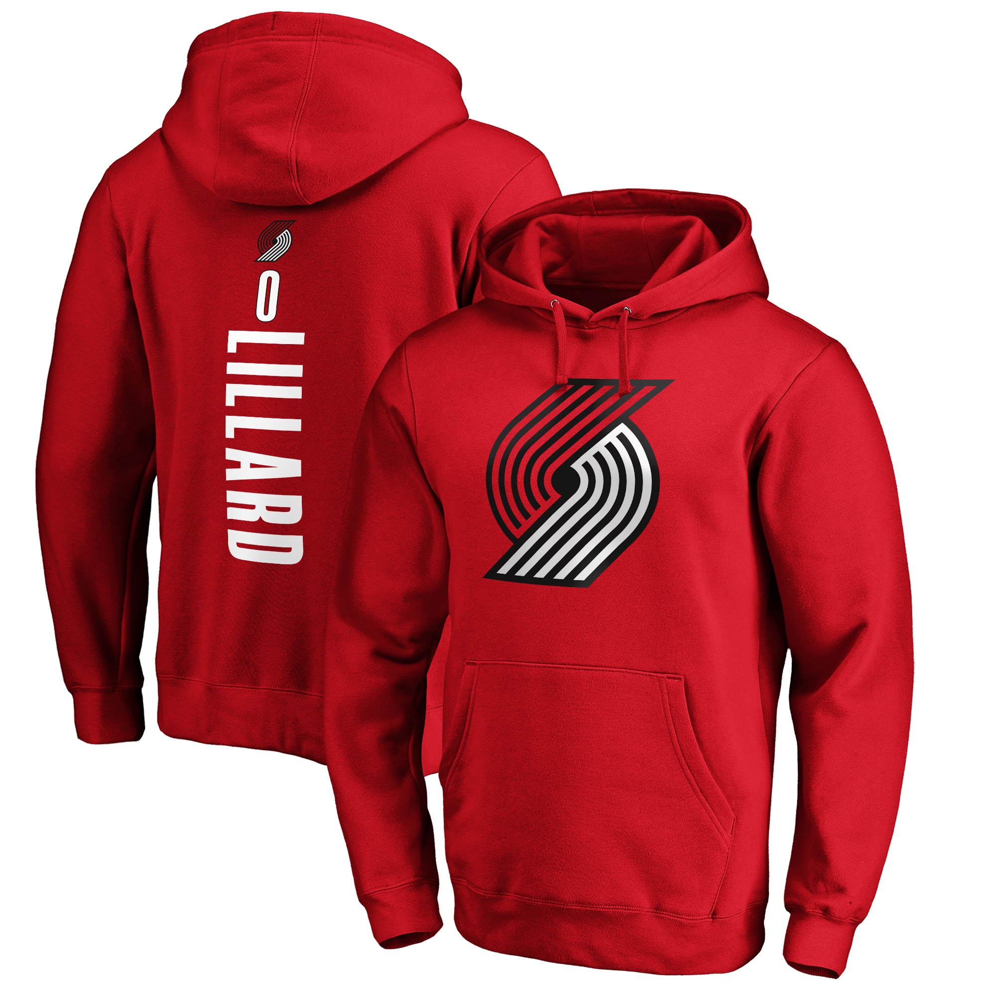 Damian Lillard Portland Trail Blazers Fanatics Branded Playmaker Name & Number Pullover Hoodie - Red