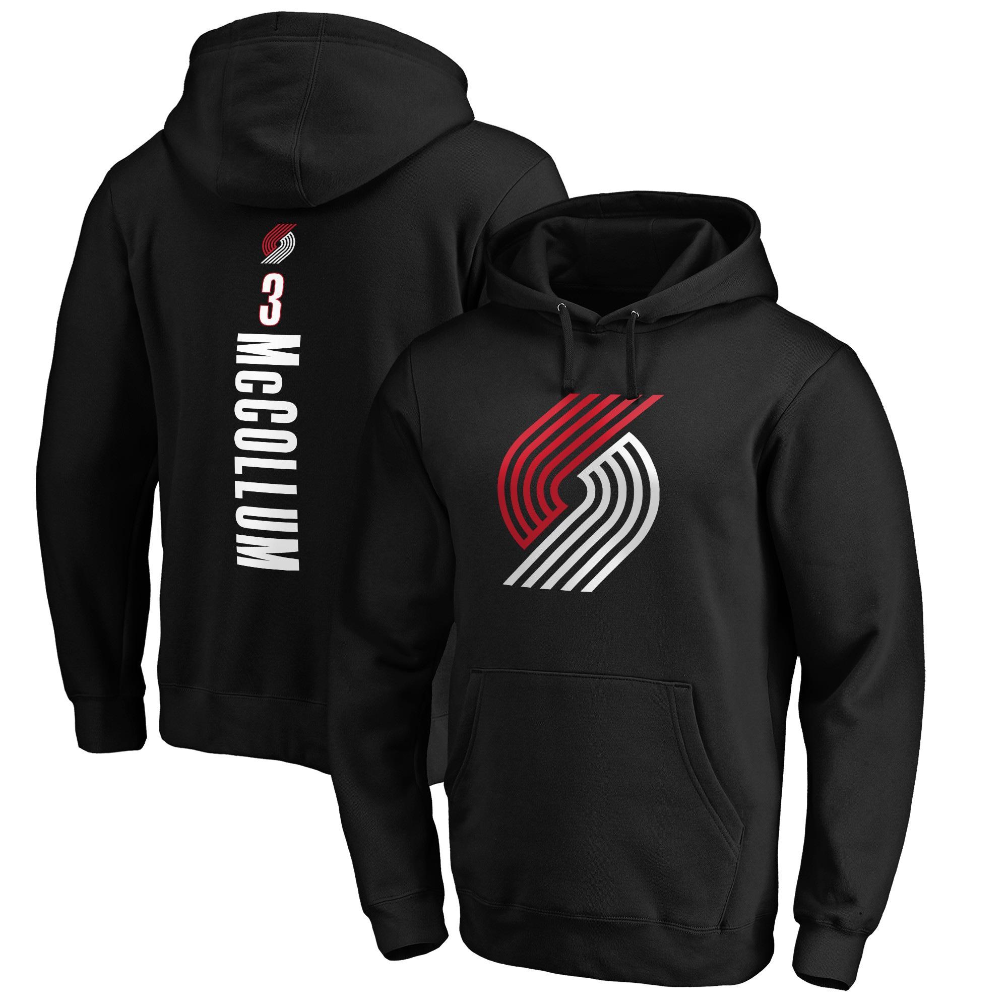 C.J. McCollum Portland Trail Blazers Fanatics Branded Team Playmaker Name & Number Pullover Hoodie - Black