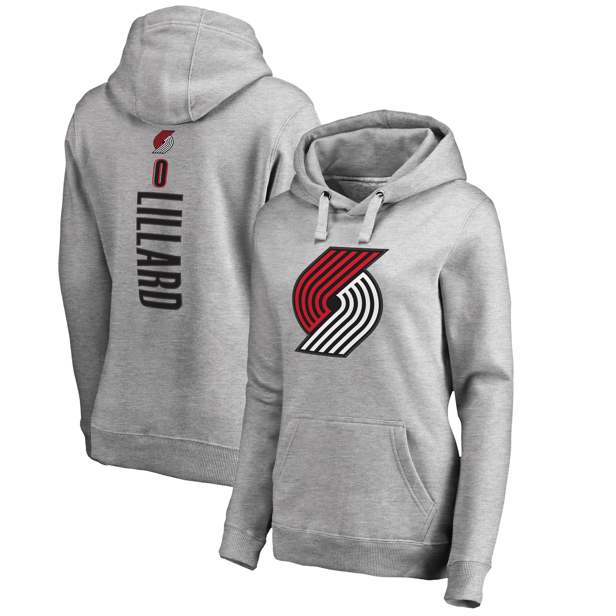 Damian Lillard Portland Trail Blazers Fanatics Branded Women's Team Backer Name & Number Pullover Hoodie - Heathered Gray